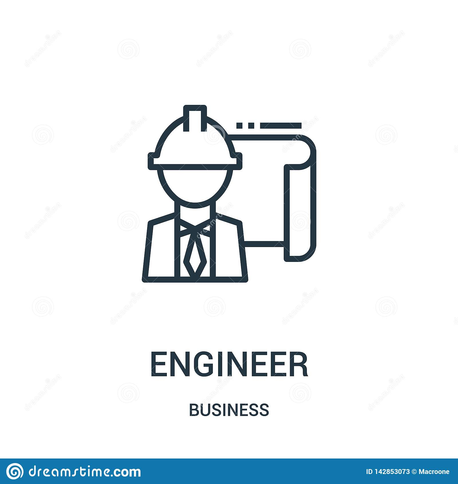 Vector del icono del ingeniero de la colección del negocio Línea fina ejemplo del vector del icono del esquema del ingeniero Símb
