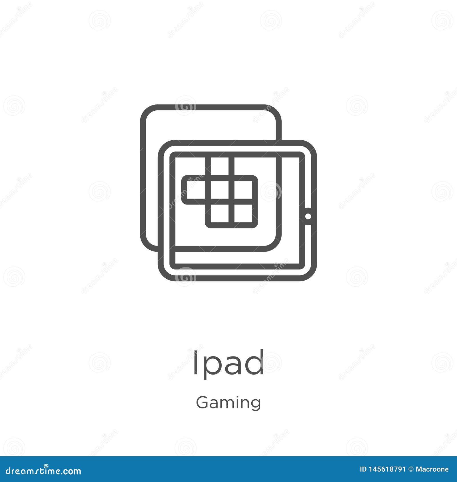 Vector del icono del ipad de la colección del juego Línea fina ejemplo del vector del icono del esquema del ipad Esquema, línea f
