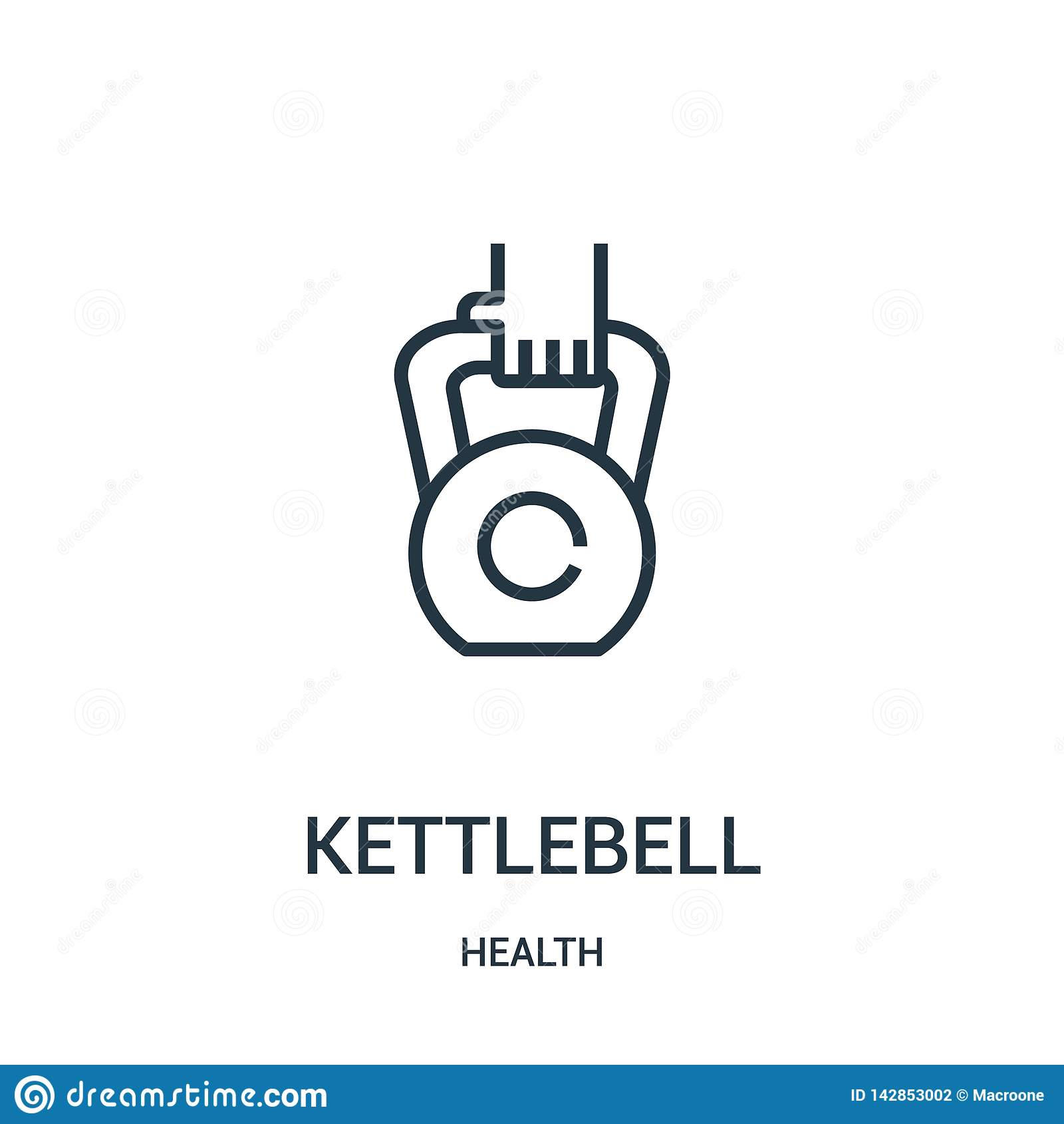 Vector del icono del kettlebell de la colección de la salud Línea fina ejemplo del vector del icono del esquema del kettlebell Sí