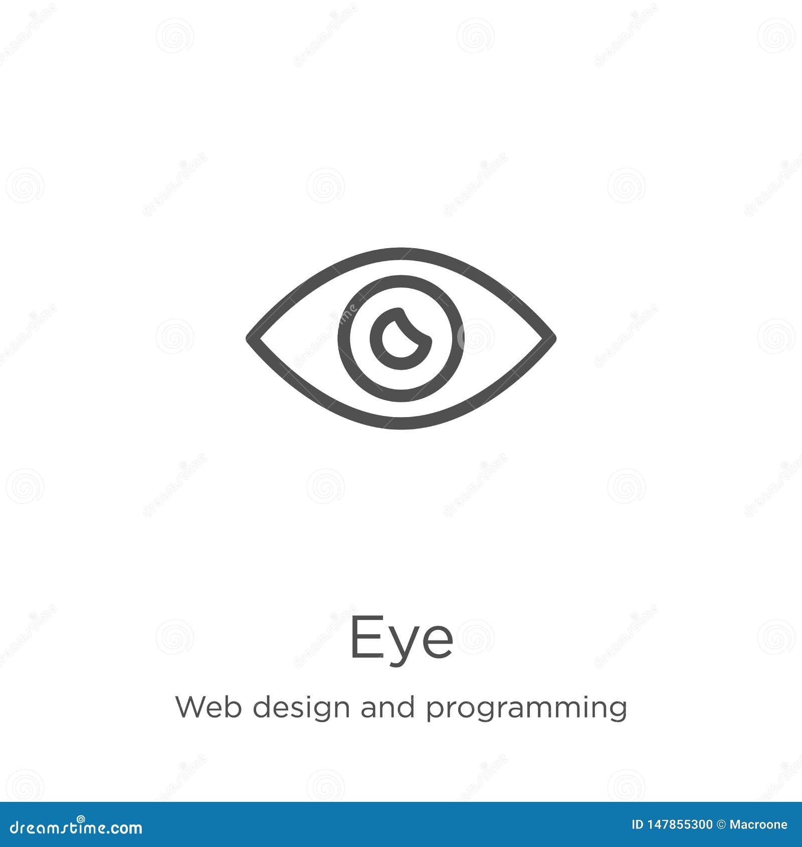 Vector del icono del ojo del diseño web y de la colección programada L?nea fina ejemplo del vector del icono del esquema del ojo