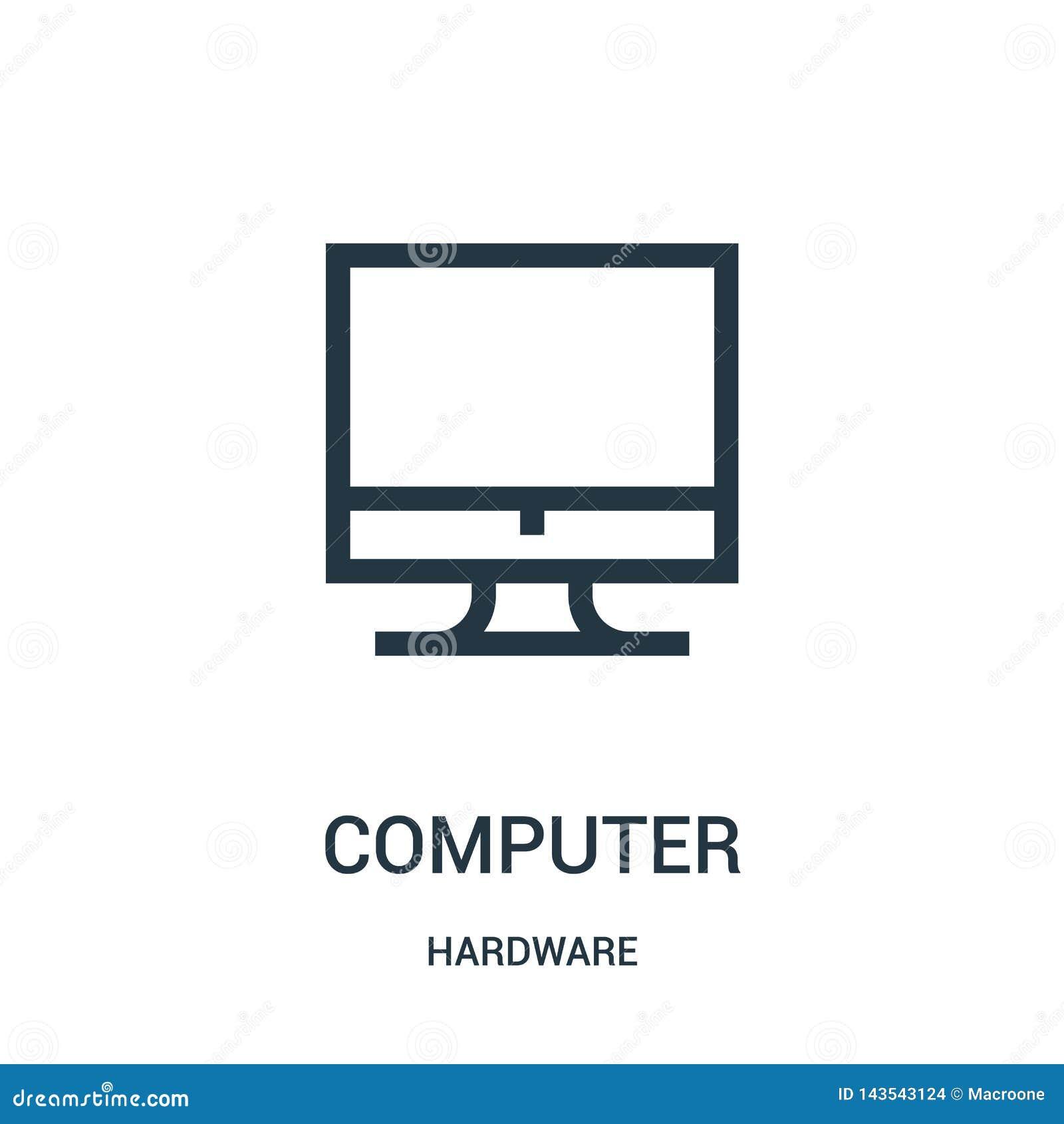 Vector del icono del ordenador de la colecci?n del hardware L?nea fina ejemplo del vector del icono del esquema del ordenador