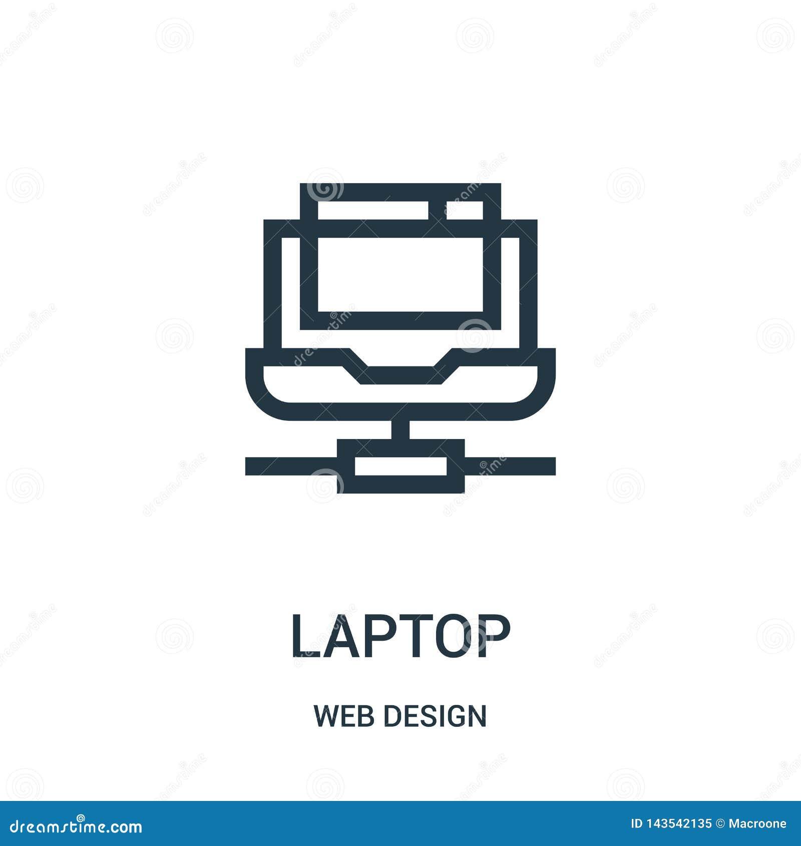 Vector del icono del ordenador portátil de la colección del diseño web Línea fina ejemplo del vector del icono del esquema del or
