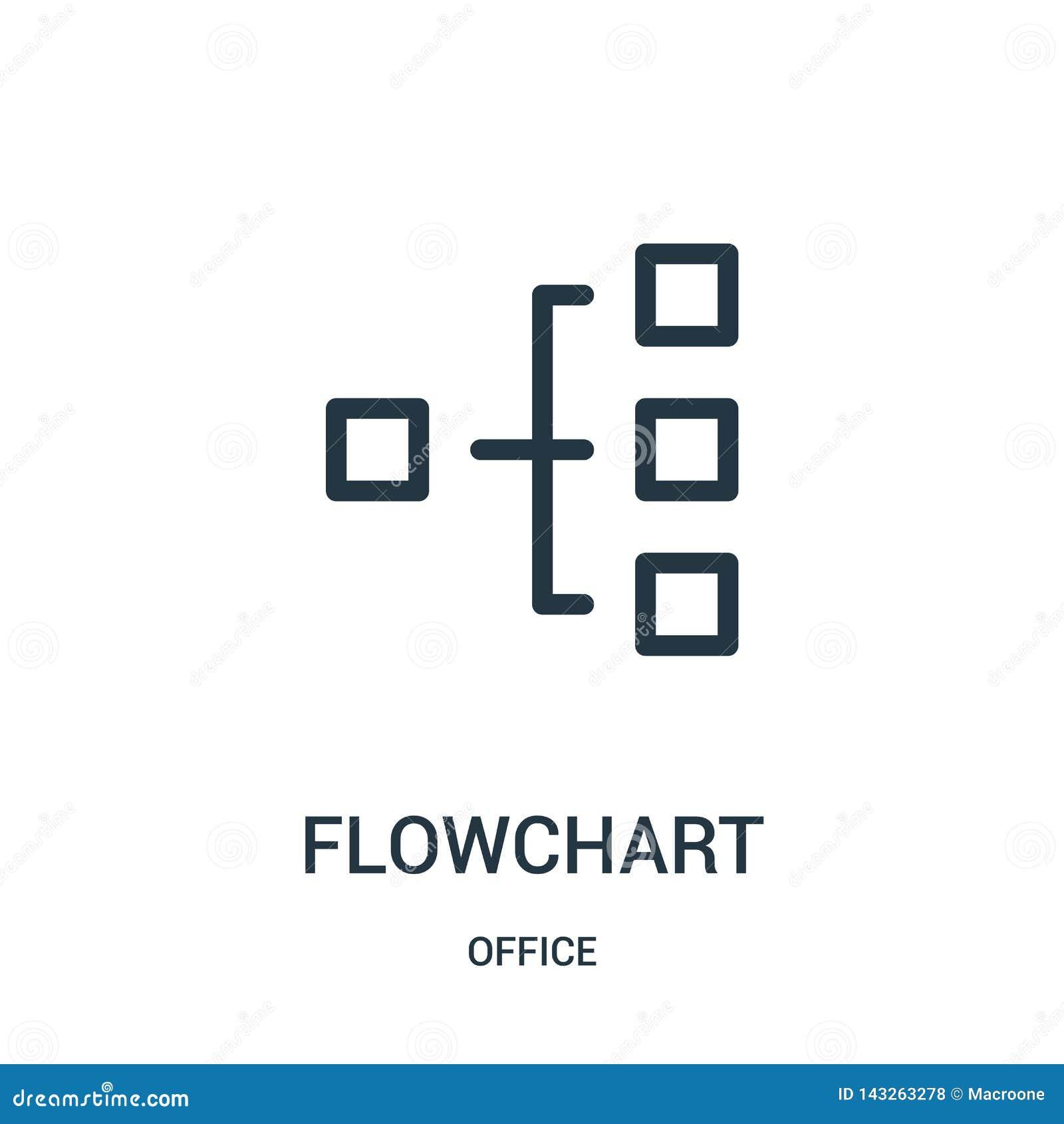 Vector del icono del organigrama de la colección de la oficina Línea fina ejemplo del vector del icono del esquema del organigram