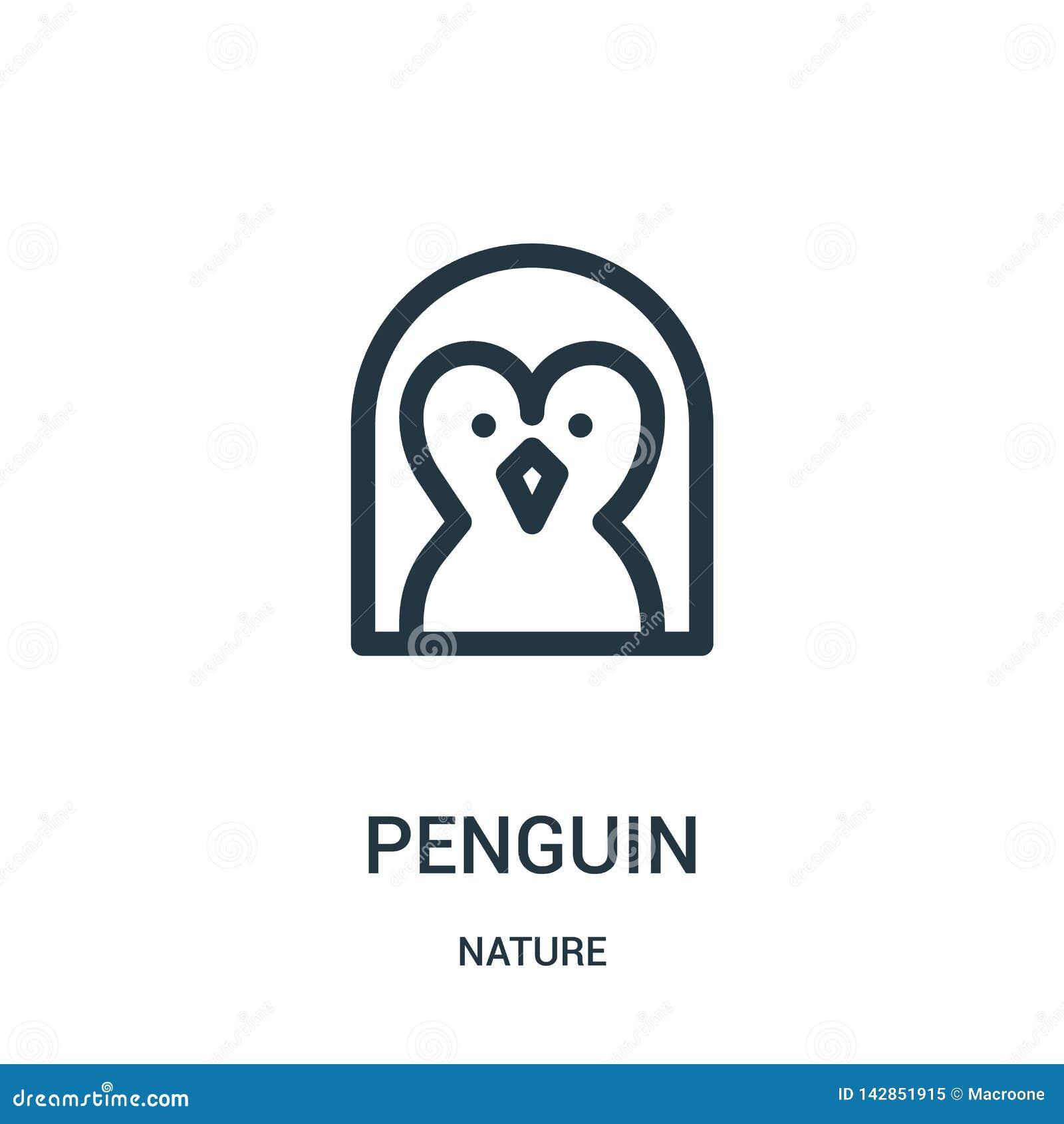 Vector del icono del pingüino de la colección de la naturaleza Línea fina ejemplo del vector del icono del esquema del pingüino S