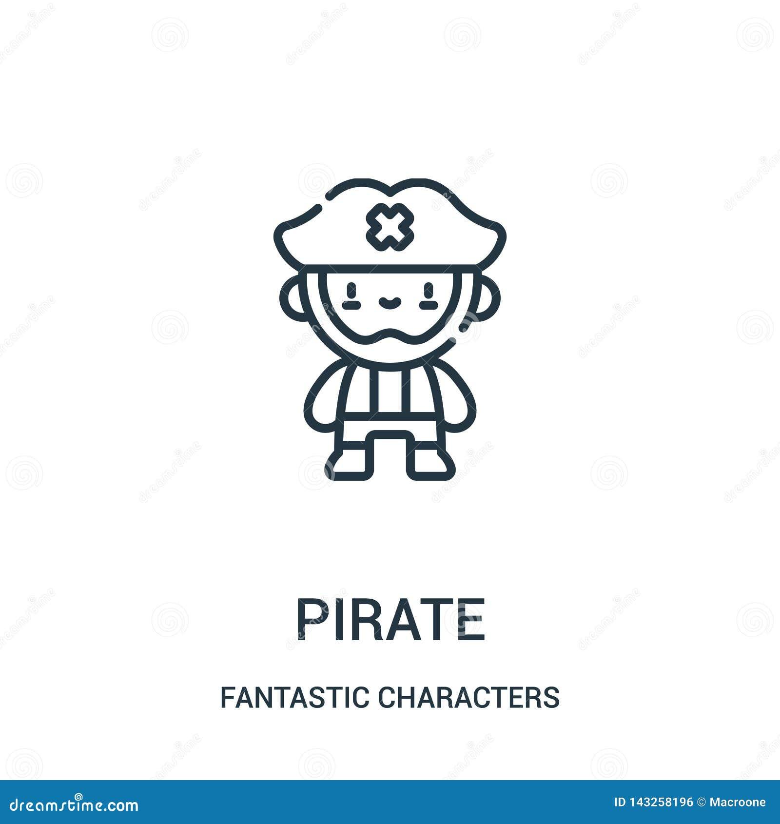 Vector del icono del pirata de la colección fantástica de los caracteres Línea fina ejemplo del vector del icono del esquema del