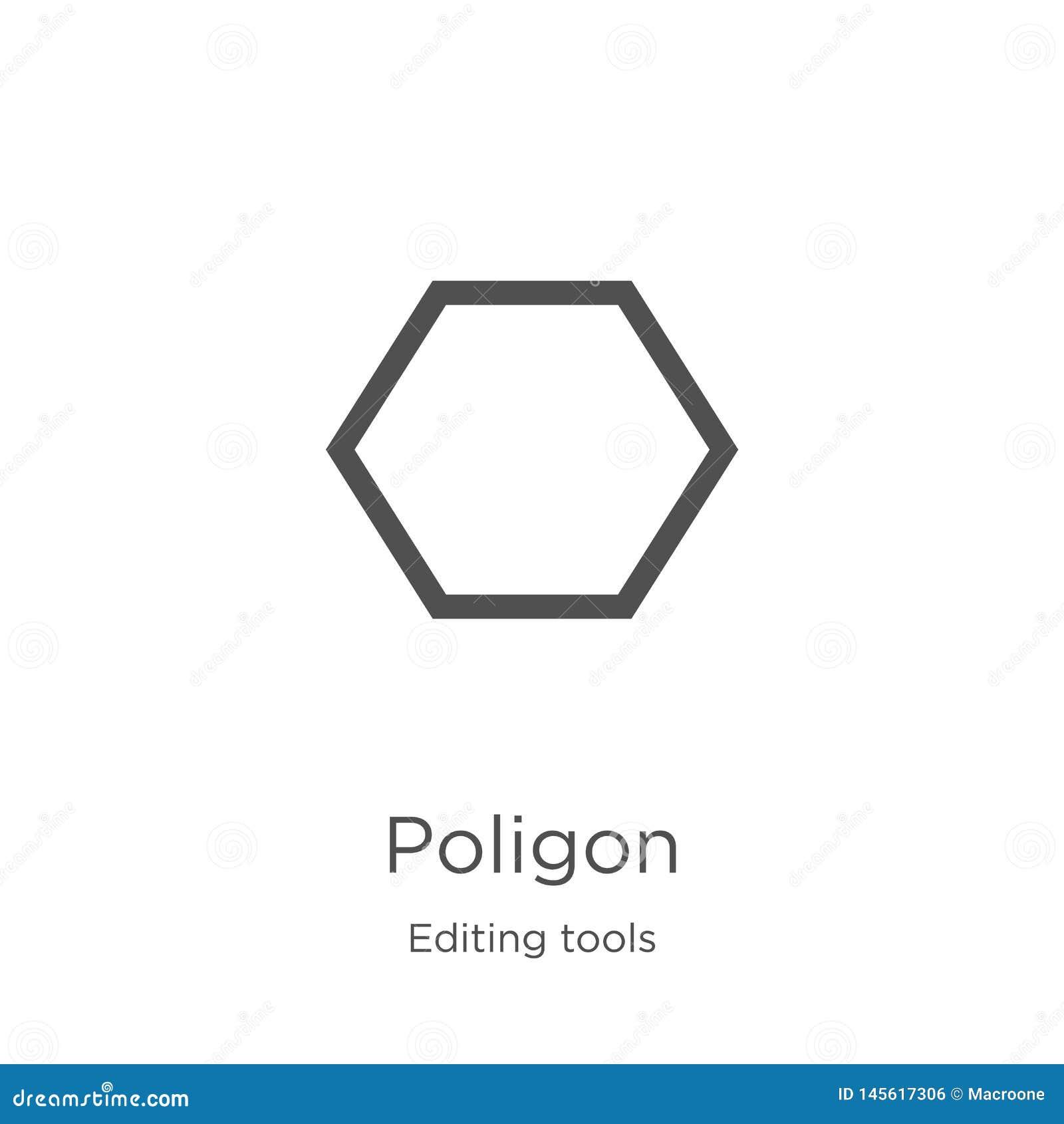 Vector del icono del poligon de corregir la colección de las herramientas Línea fina ejemplo del vector del icono del esquema del
