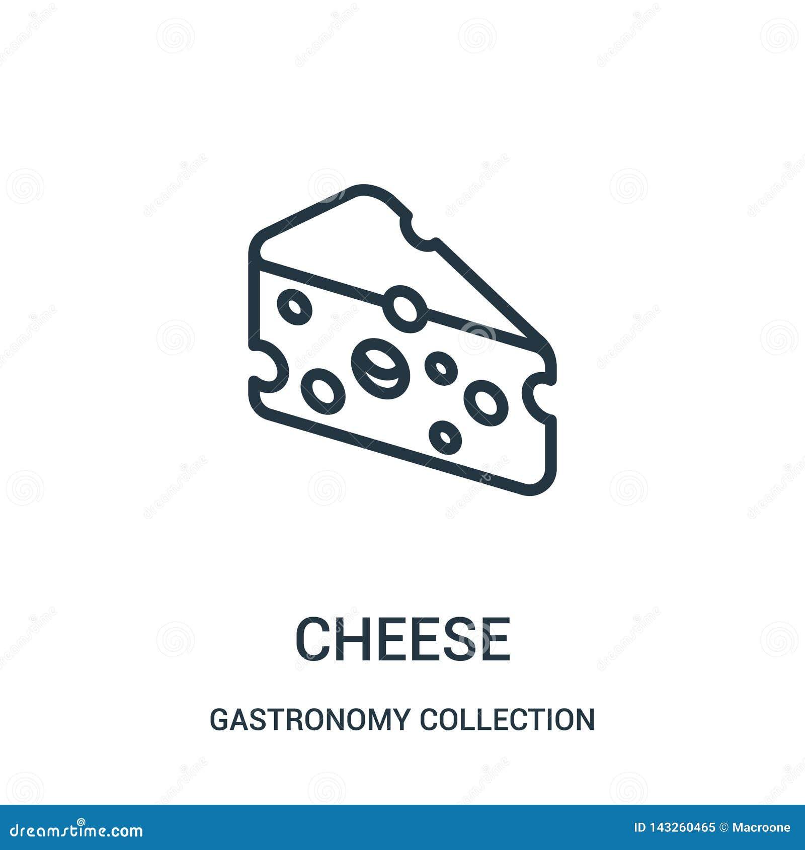 Vector del icono del queso de la colecci?n de la colecci?n de la gastronom?a L?nea fina ejemplo del vector del icono del esquema