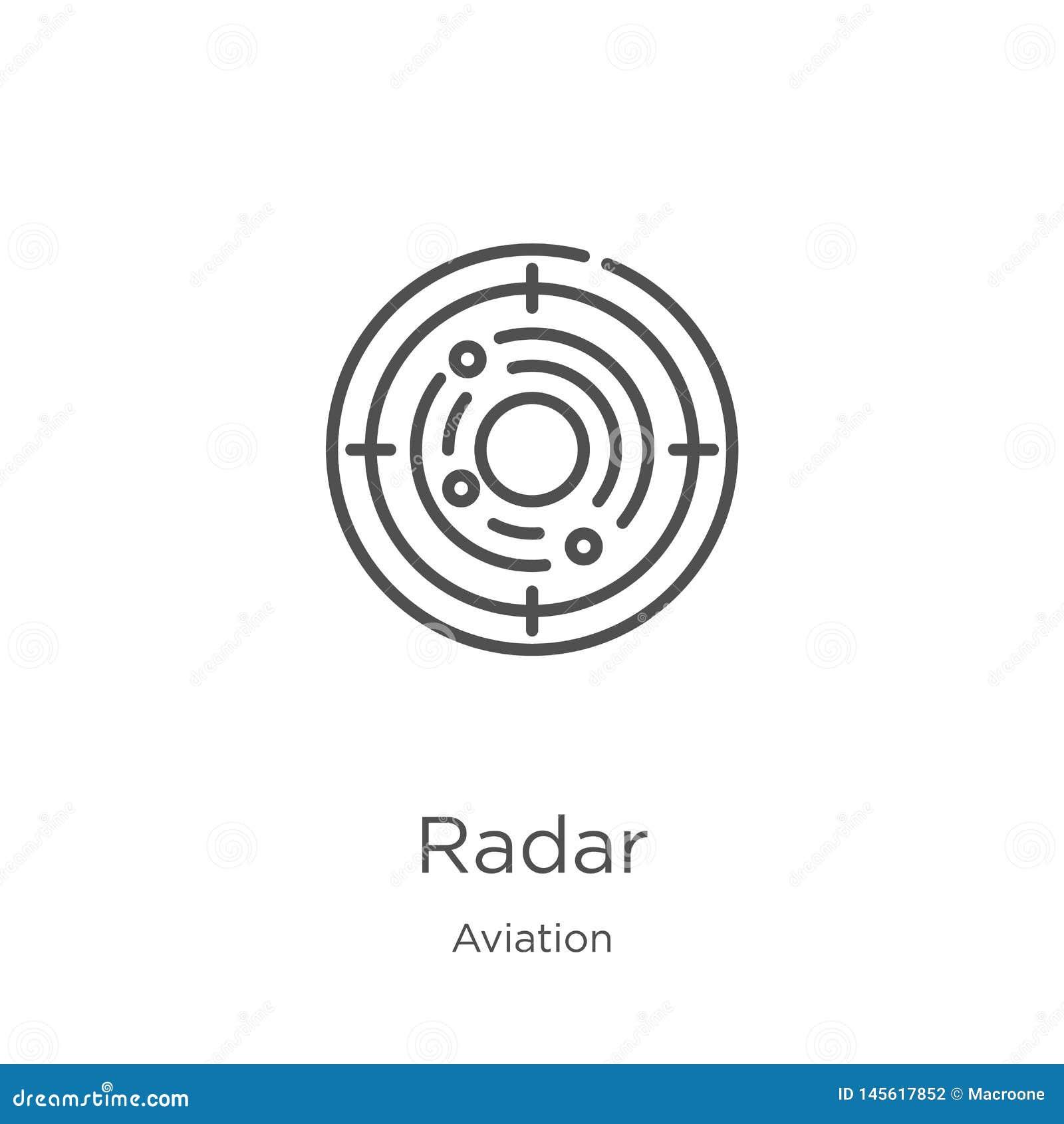 Vector del icono del radar de la colecci?n de la aviaci?n L?nea fina ejemplo del vector del icono del esquema del radar Esquema,