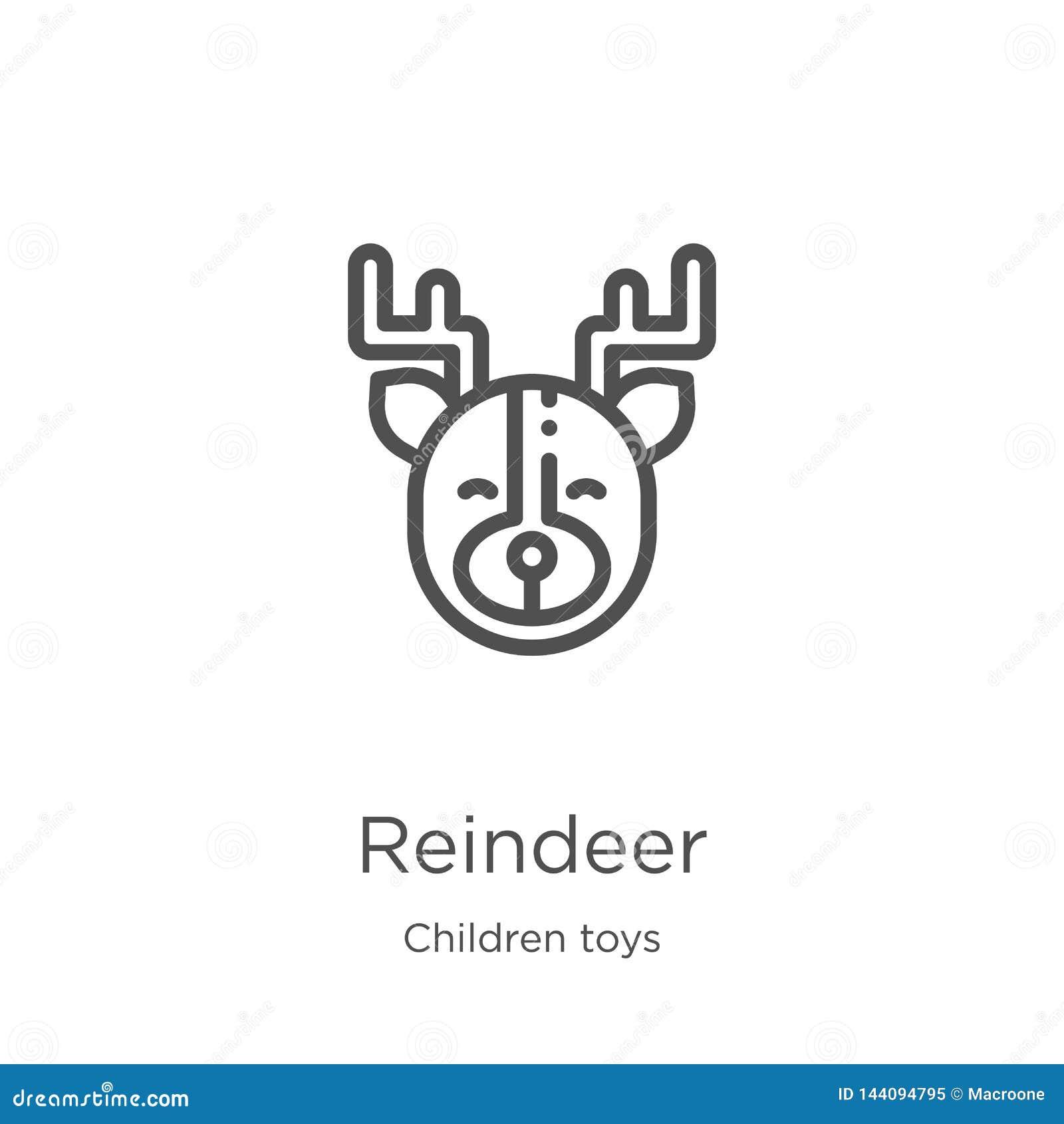 Vector del icono del reno de la colección de los juguetes de los niños Línea fina ejemplo del vector del icono del esquema del re