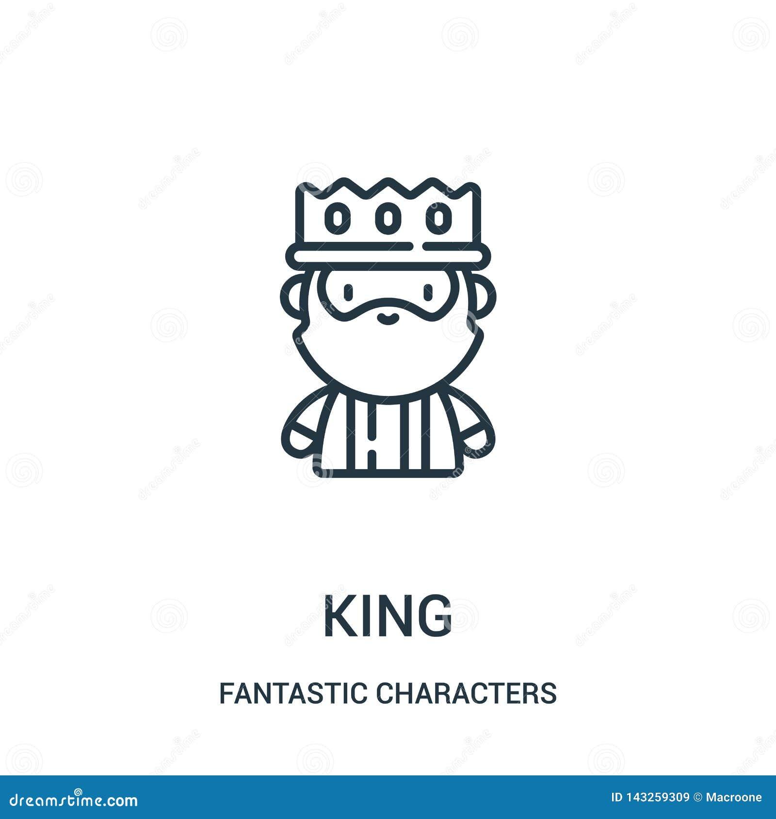 Vector del icono del rey de la colección fantástica de los caracteres Línea fina ejemplo del vector del icono del esquema del rey