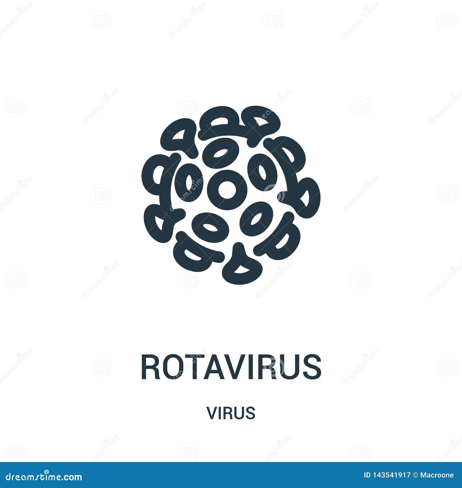 Vector del icono del rotavirus de la colección del virus Línea fina ejemplo del vector del icono del esquema del rotavirus