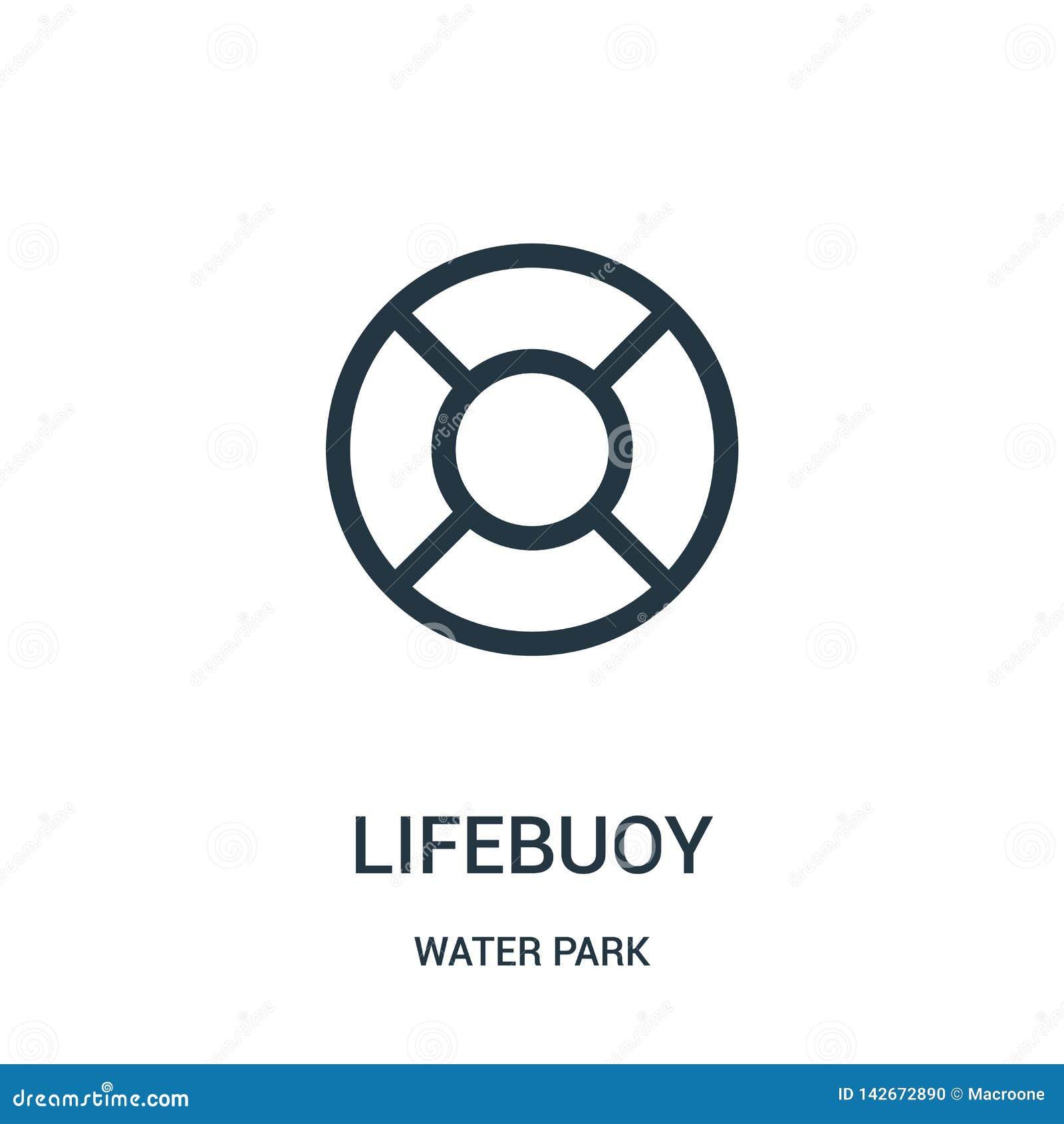 Vector del icono del salvavidas de la colección del parque del agua Línea fina ejemplo del vector del icono del esquema del salva