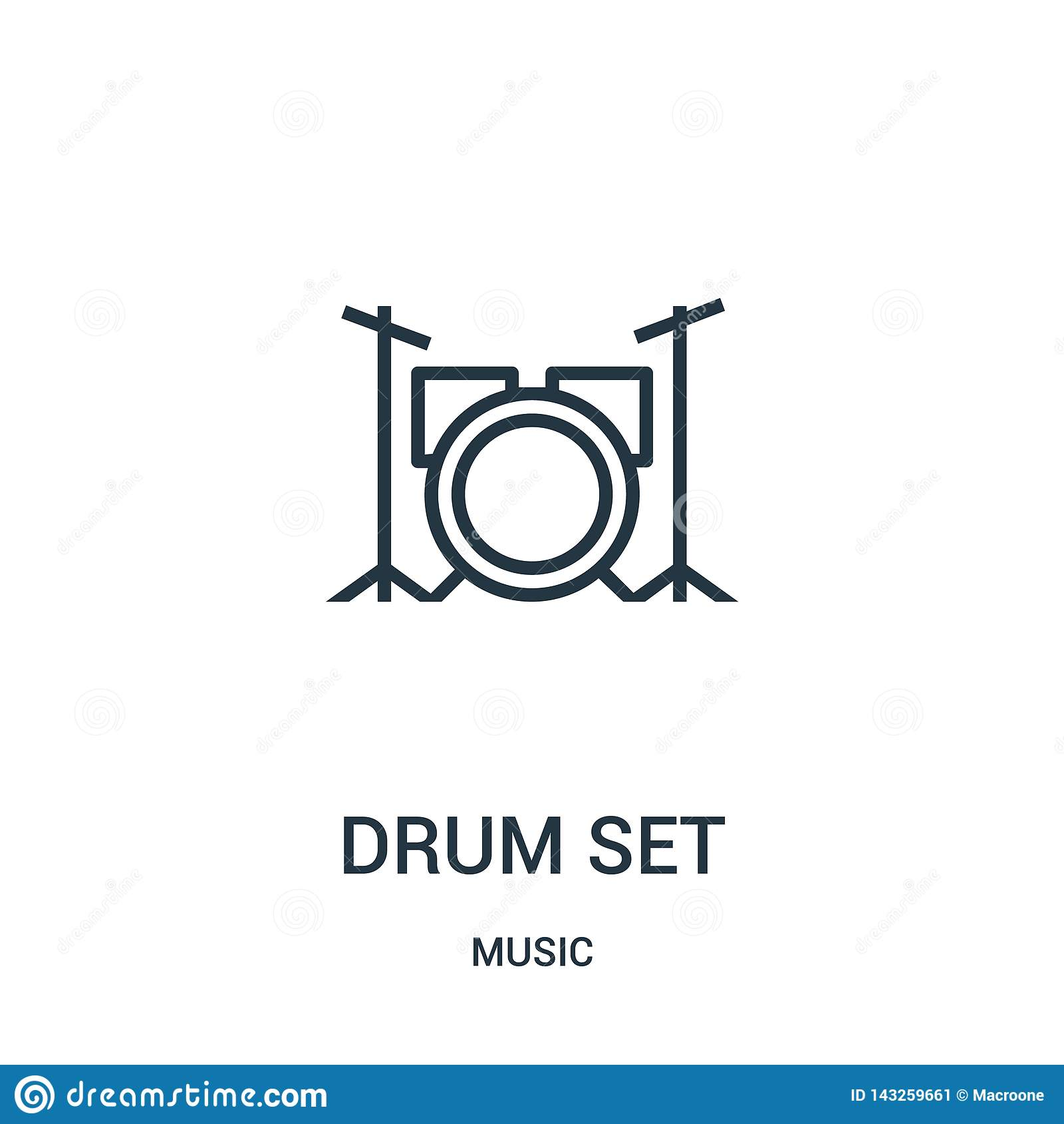 Vector del icono del sistema del tambor de la colección de música Línea fina ejemplo del vector del icono del esquema del sistema