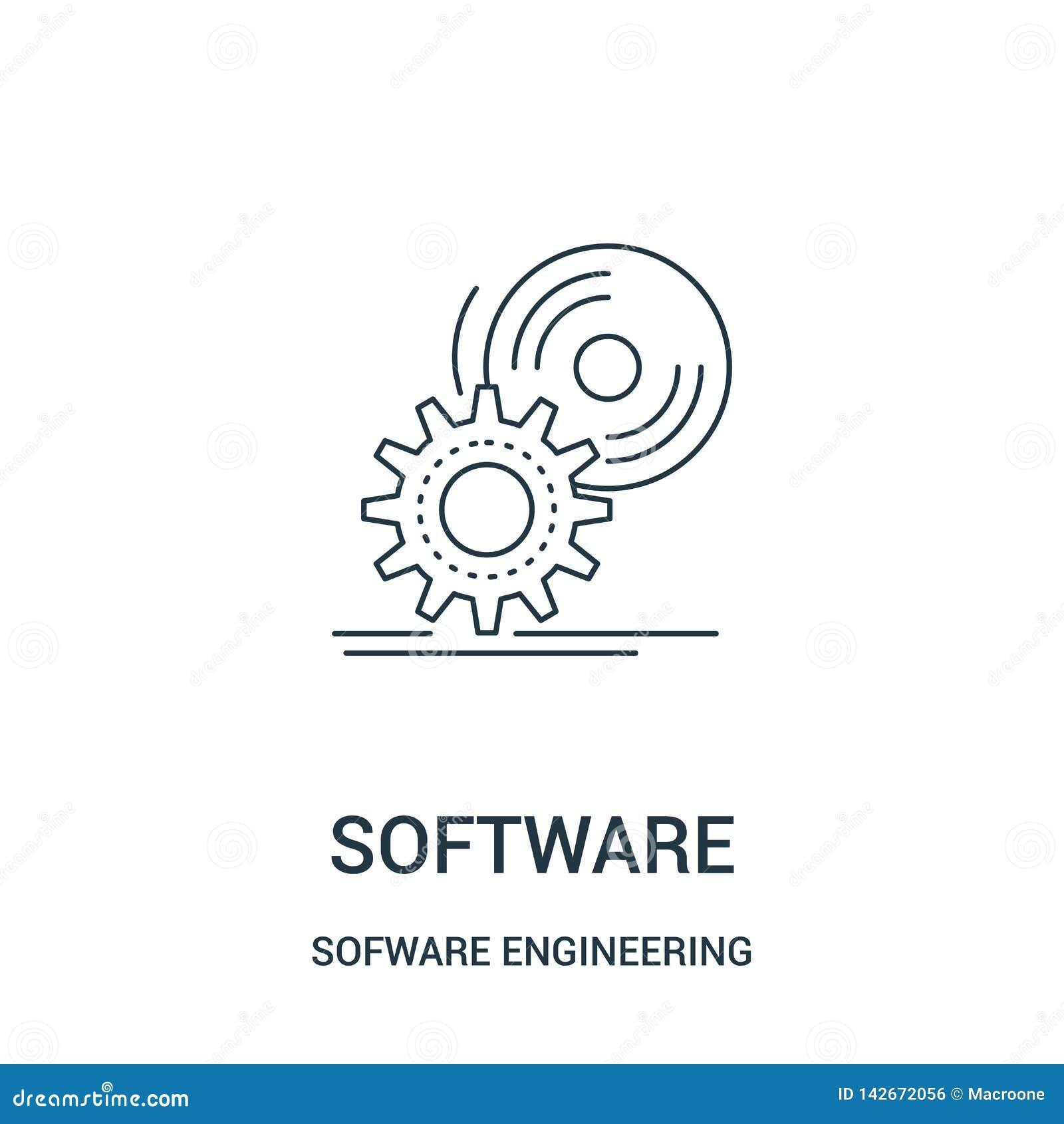 Vector del icono del software de la colección video del juego de la ingeniería de programas informáticos Línea fina ejemplo del v