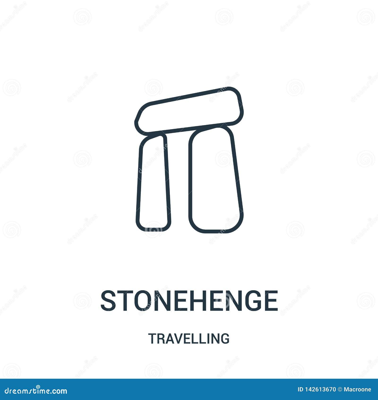 Vector del icono del stonehenge de la colección que viaja Línea fina ejemplo del vector del icono del esquema del stonehenge S?mb