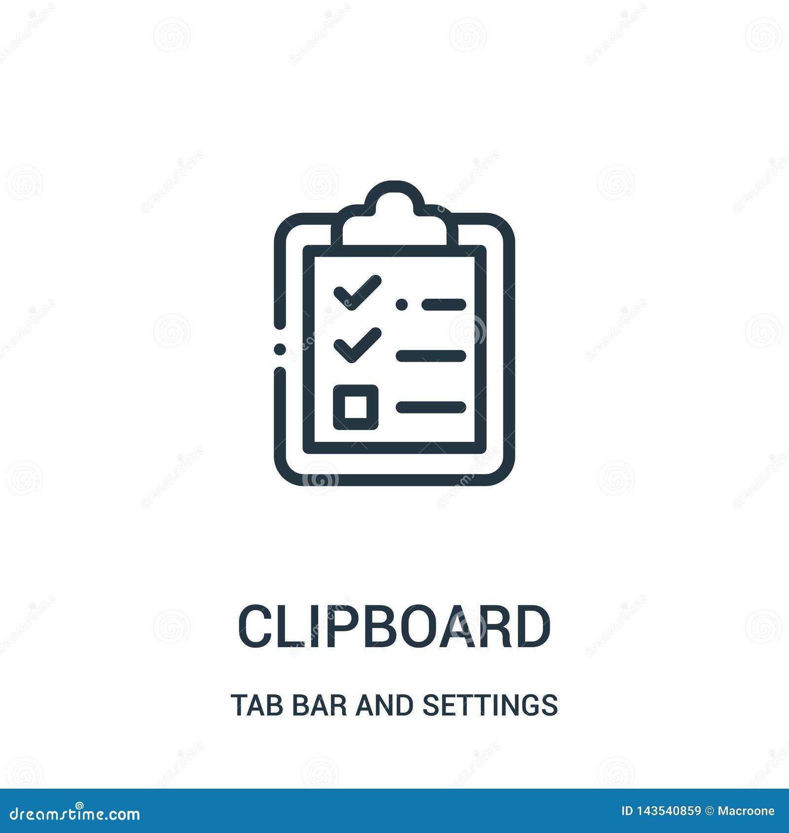 Vector del icono del tablero de la barra de la etiqueta y de la colección de los ajustes Línea fina ejemplo del vector del icono