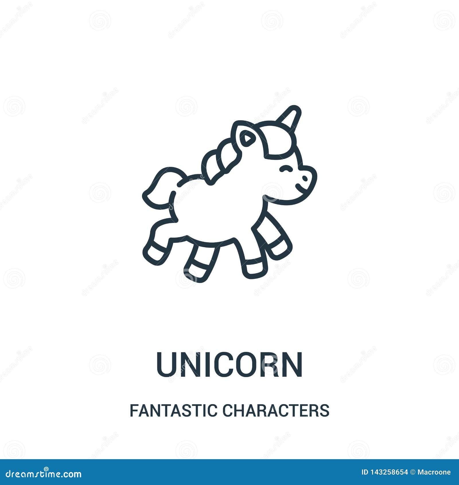 Vector del icono del unicornio de la colección fantástica de los caracteres L?nea fina ejemplo del vector del icono del esquema d