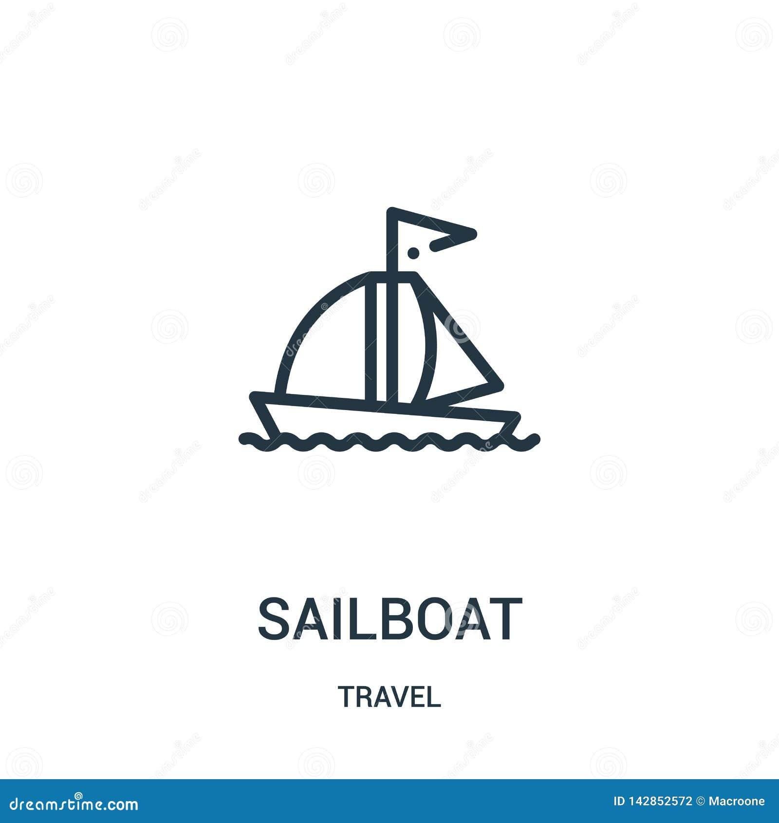 Vector del icono del velero de la colección del viaje Línea fina ejemplo del vector del icono del esquema del velero Símbolo line