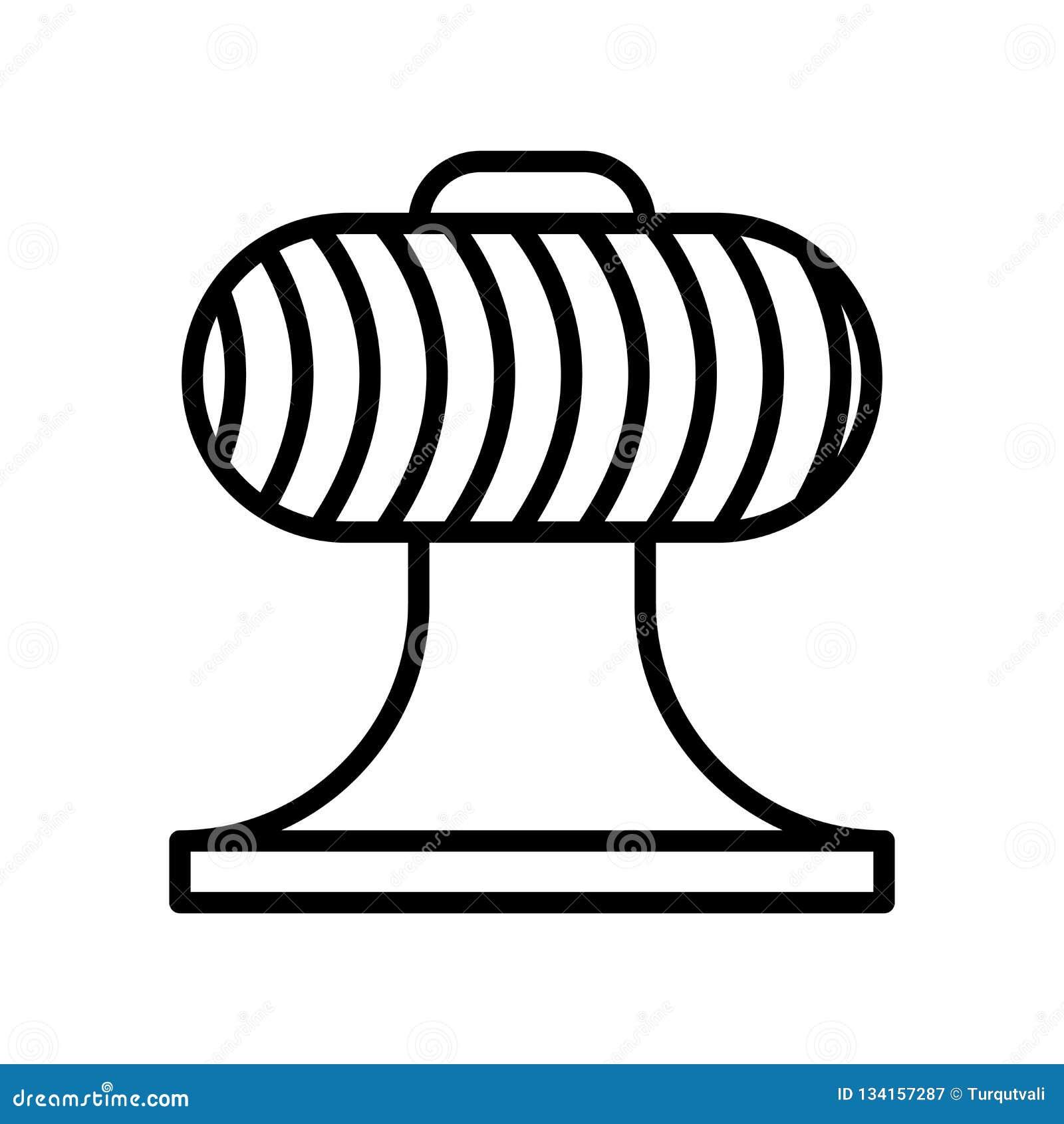 Vector del icono del ventilador aislado en el fondo, la muestra del ventilador, la línea y los elementos blancos del esquema en e