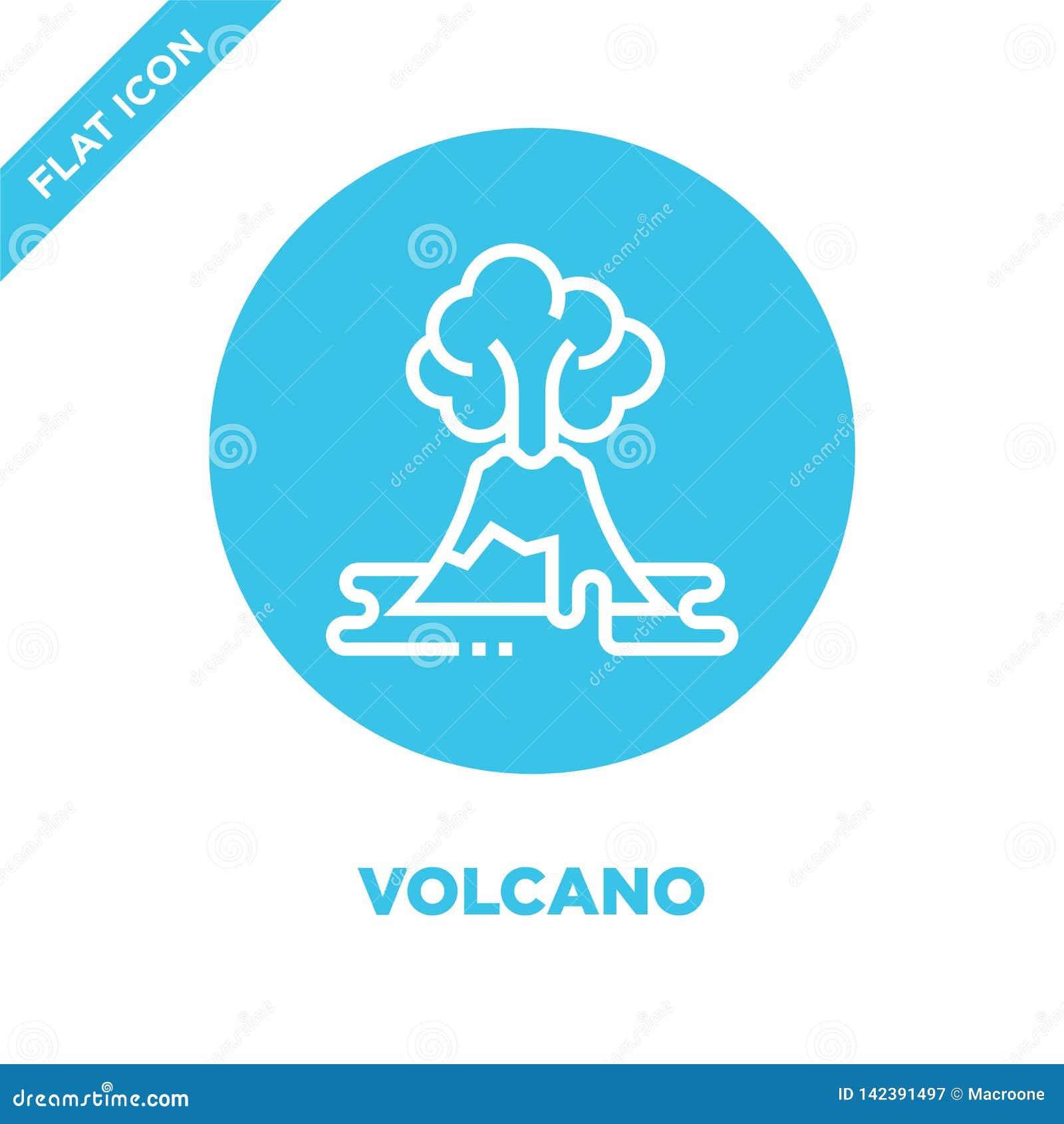 Vector del icono del volcán de la colección del calentamiento del planeta Línea fina ejemplo del vector del icono del esquema del