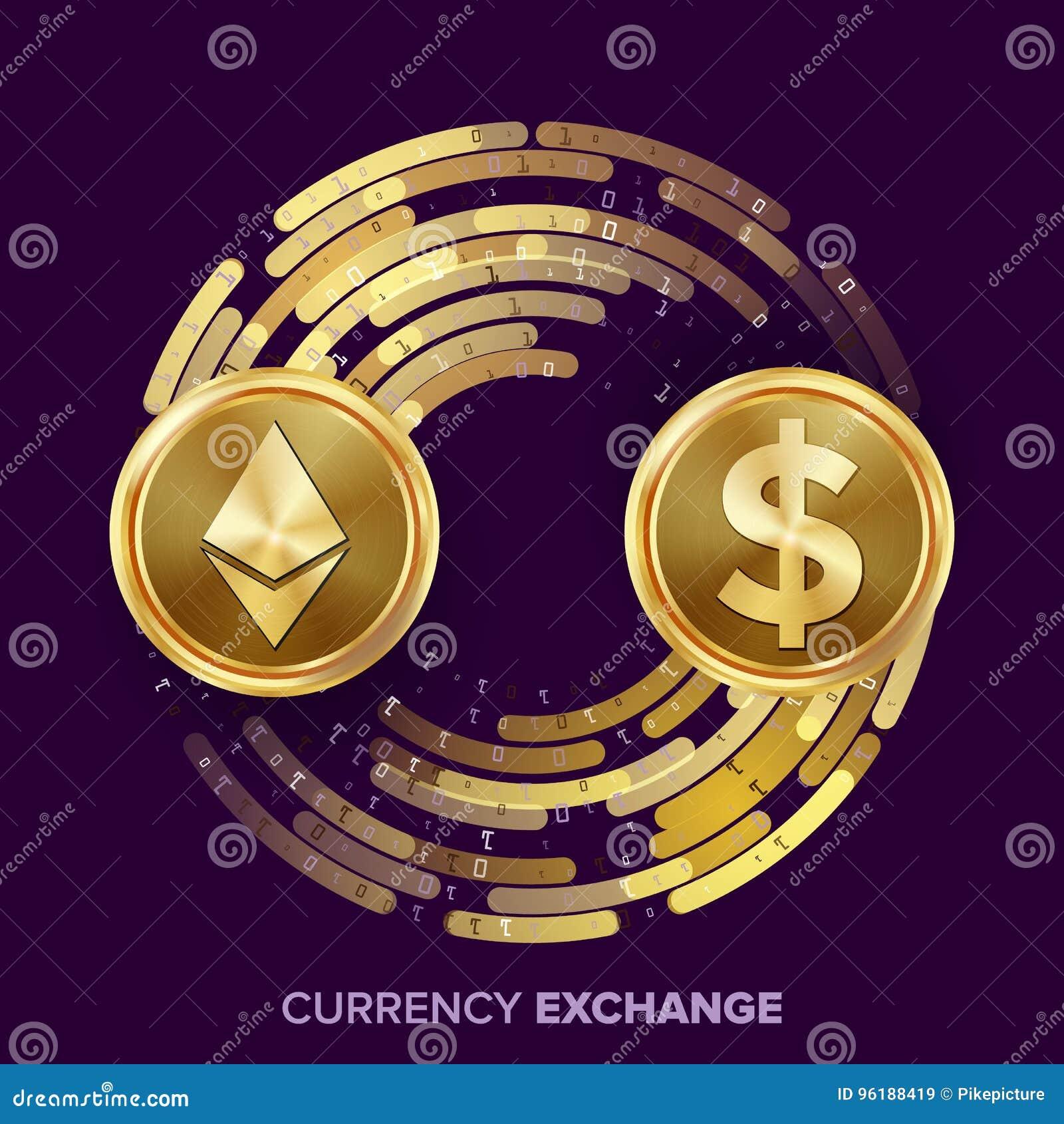Vector del intercambio de dinero de la moneda de Digitaces Dólar de Ethereum Fintech Blockchain Monedas de oro con la corriente d
