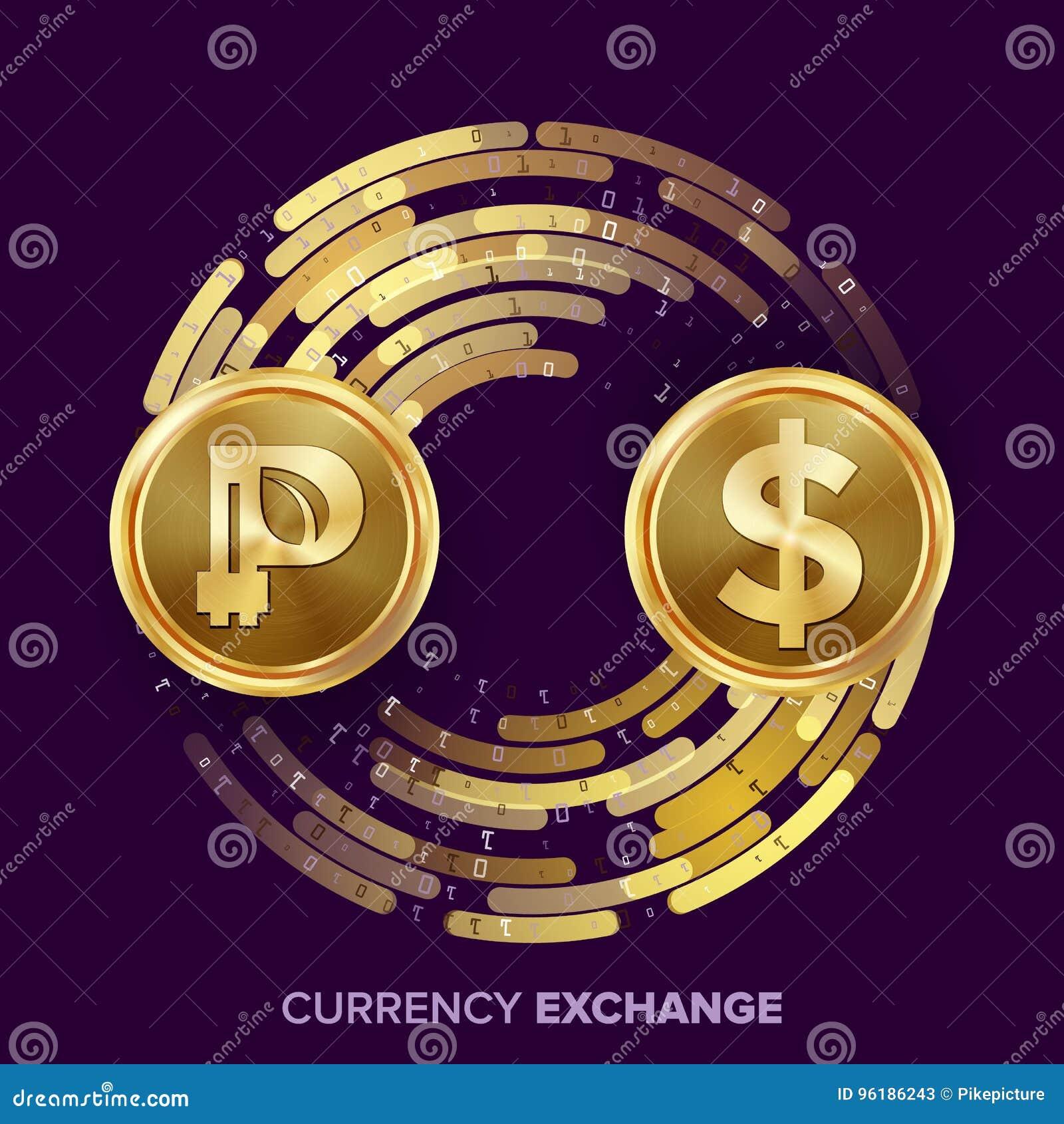 Vector del intercambio de dinero de la moneda de Digitaces Peercoin, dólar Fintech Blockchain Monedas de oro con la corriente de