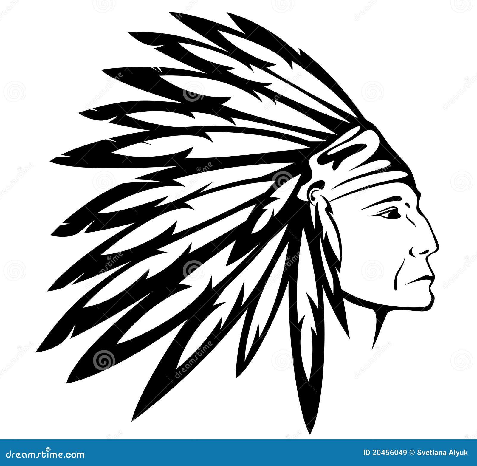 Vector del jefe indio del nativo americano