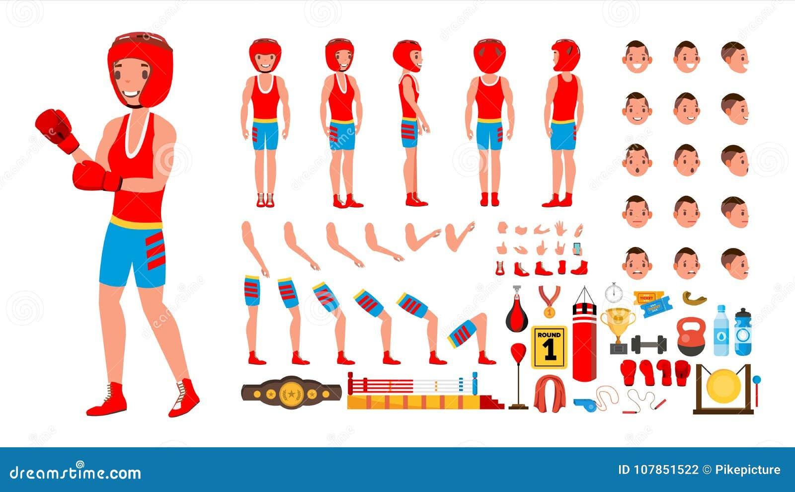 Vector del jugador del boxeo sistema animado de la creación del carácter Varón del deportista que lucha Integral, delantero, lado
