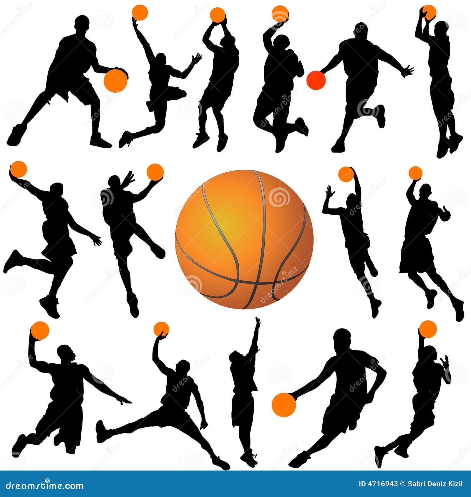 Vector del jugador de básquet y de la bola