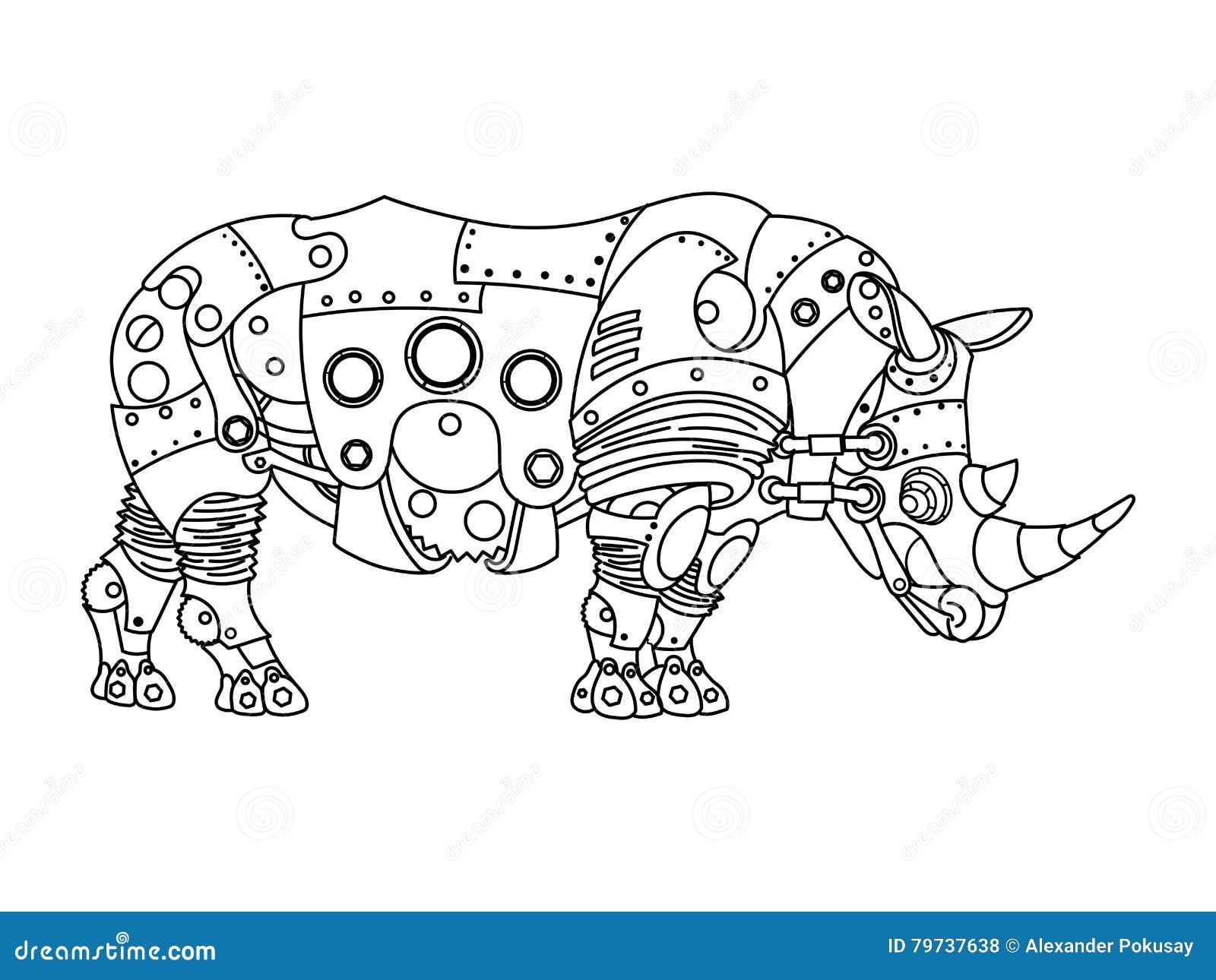 Vector Del Libro De Colorear Del Rinoceronte Del Estilo De Steampunk ...