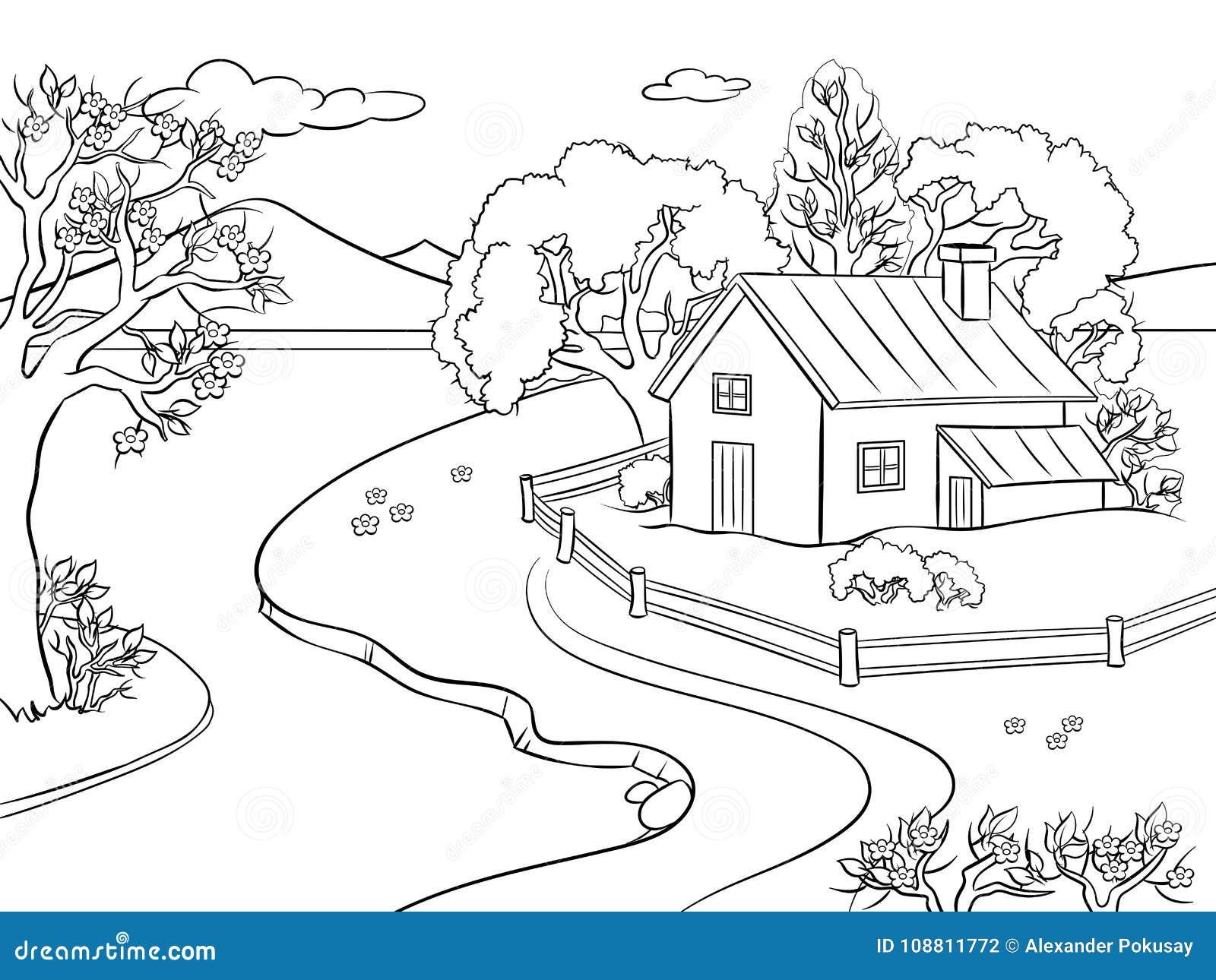 Vector Del Libro De Colorear Del Paisaje De La Primavera Ilustración