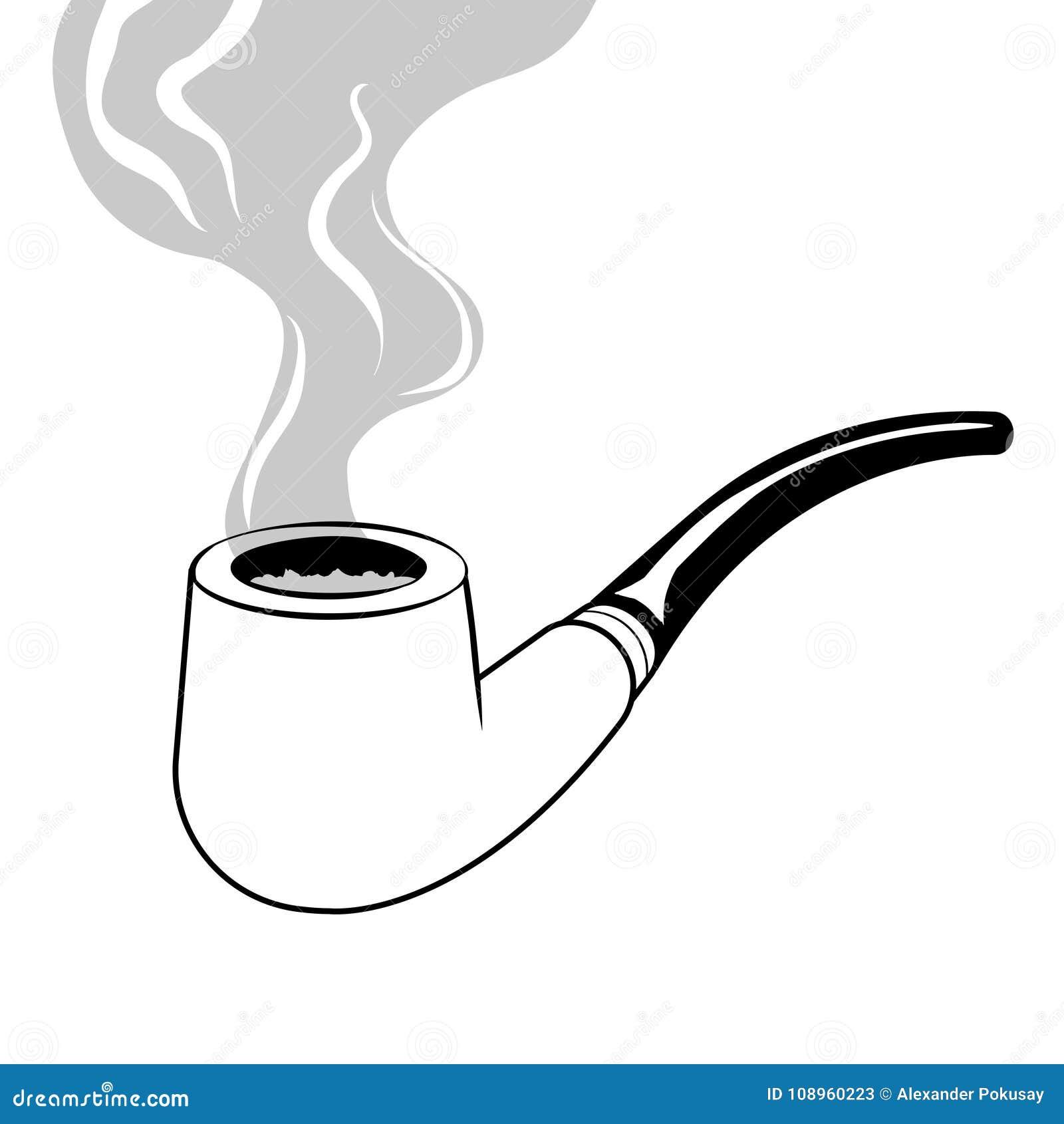 Vector Del Libro De Colorear Del Tubo Que Fuma Ilustración del ...