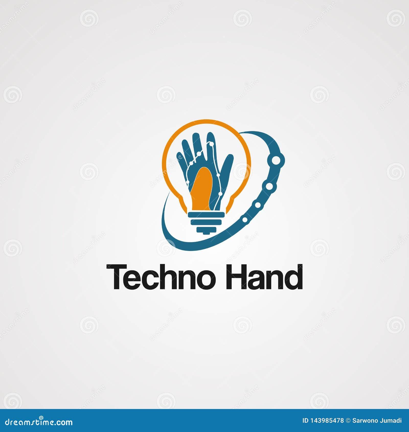 Vector del logotipo de la mano de Techno con Swoosh y concepto del bulbo, elemento, icono, y plantilla para la compañía