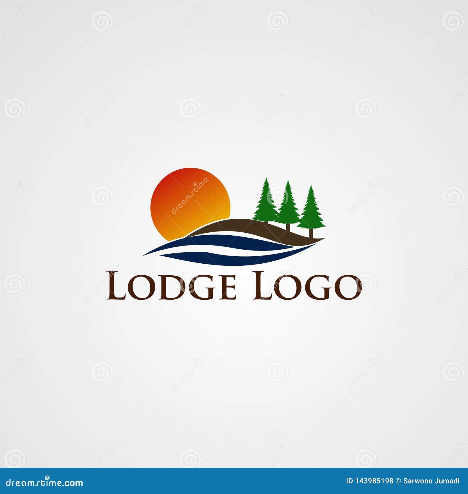 Vector del logotipo del lago con el pino liso de la onda y del árbol, el elemento, la plantilla, y el icono, para la compañía