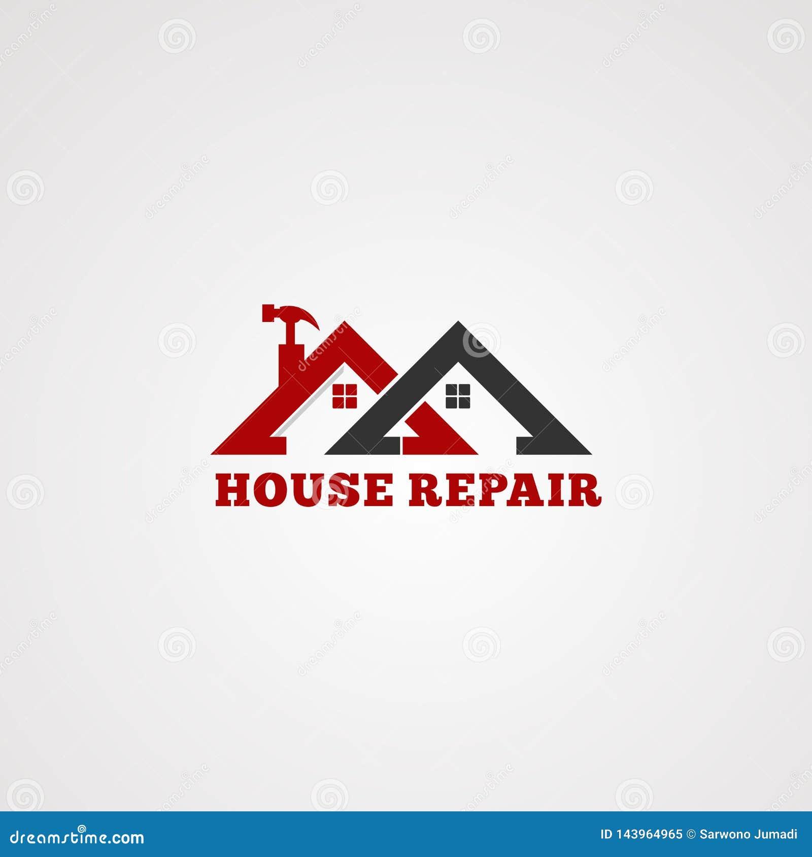 Vector del logotipo del servicio de reparación de la casa, con el tejado gemelo en color rojo, martillo de la herramienta, el ele