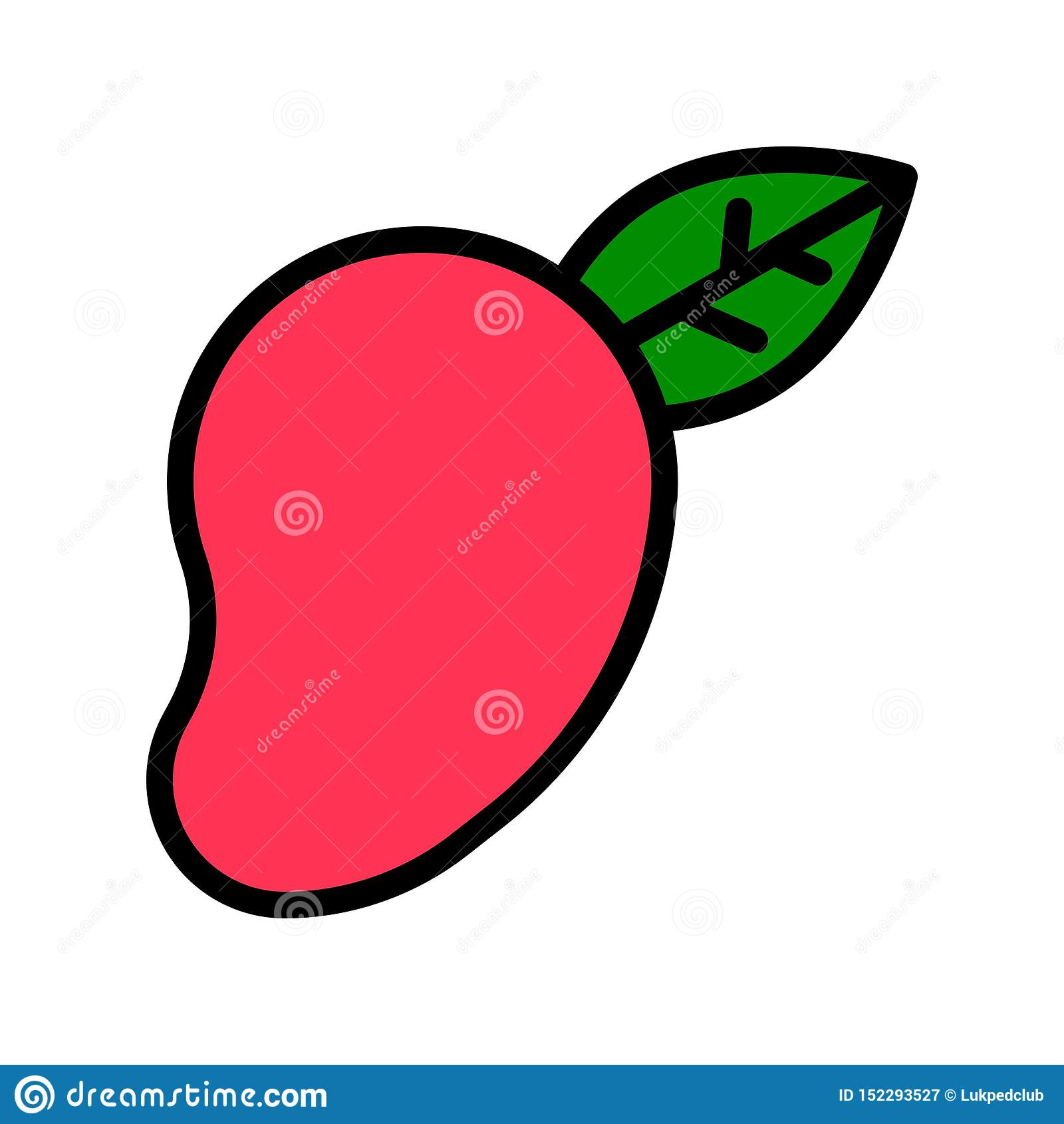 Vector del mango, icono llenado relacionado tropical del estilo