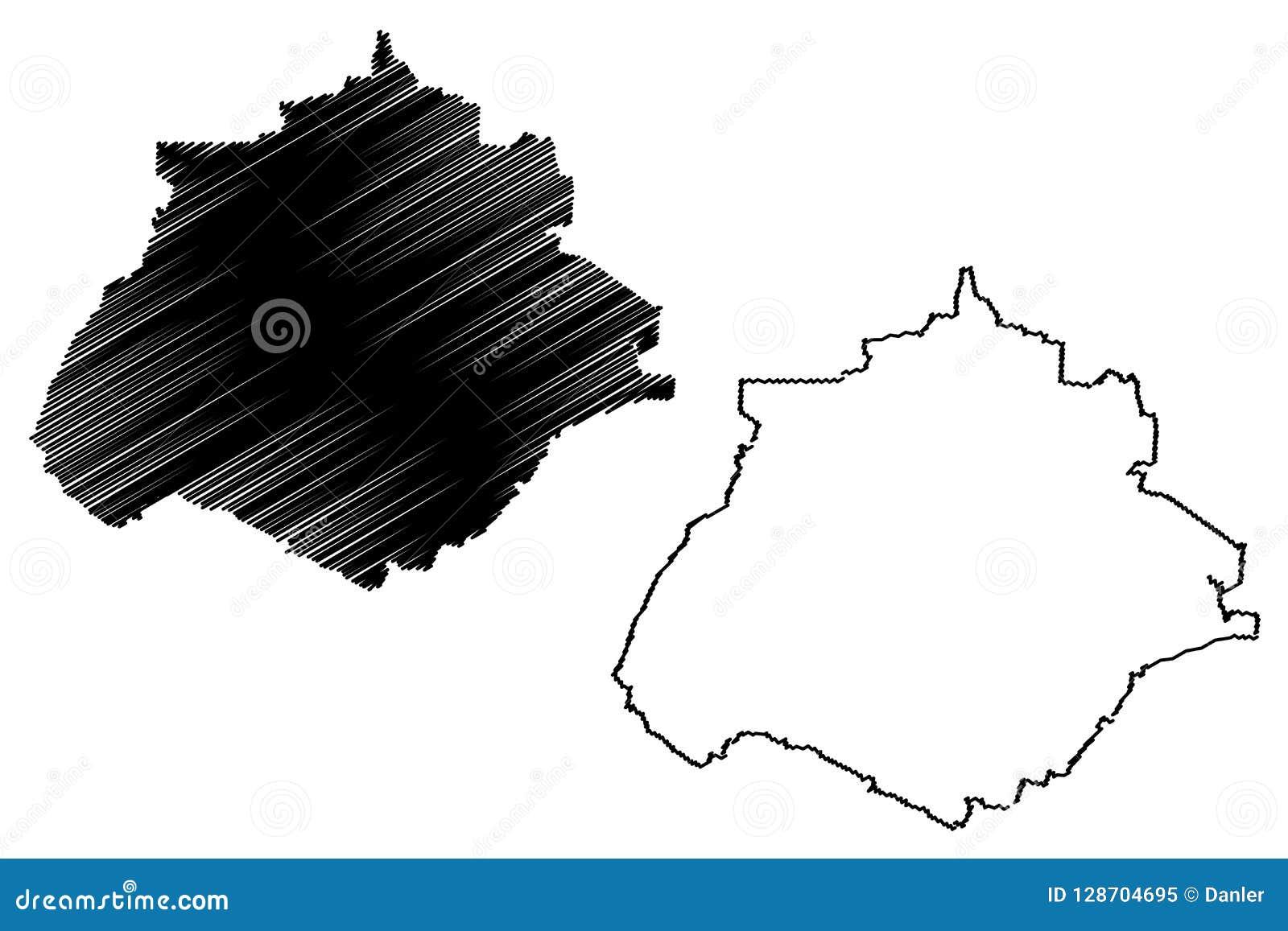 Vector Del Mapa De Aguascalientes Ilustración Del Vector