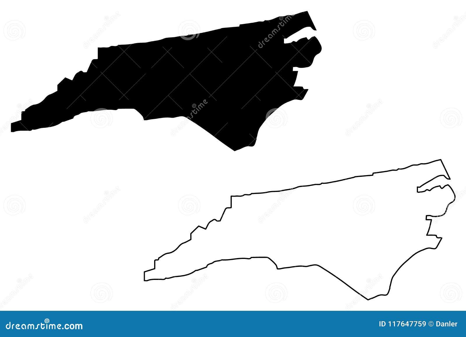 Vector del mapa de Carolina del Norte
