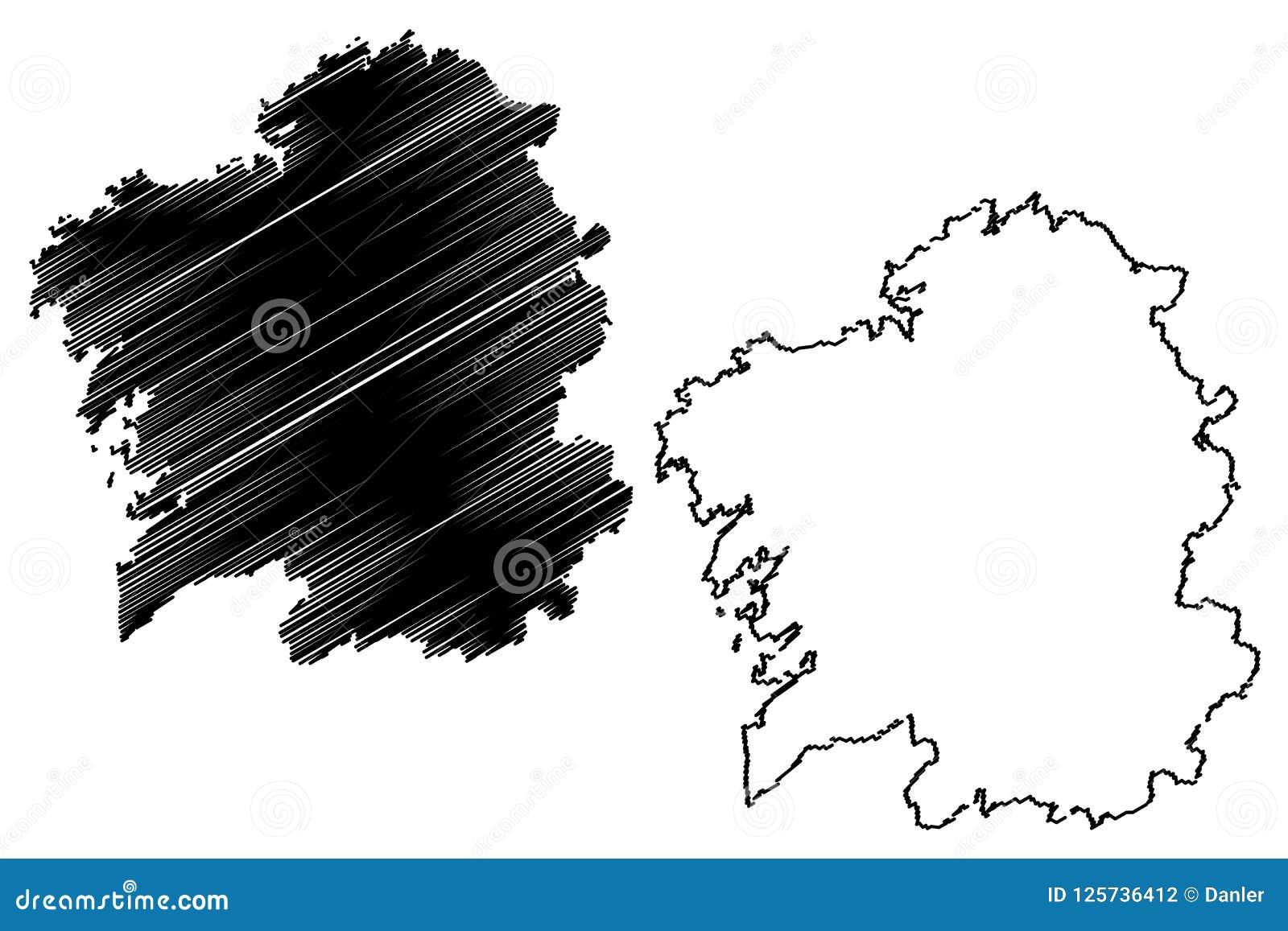 Mapa De Galicia España.Vector Del Mapa De Galicia Espana Ilustracion Del Vector