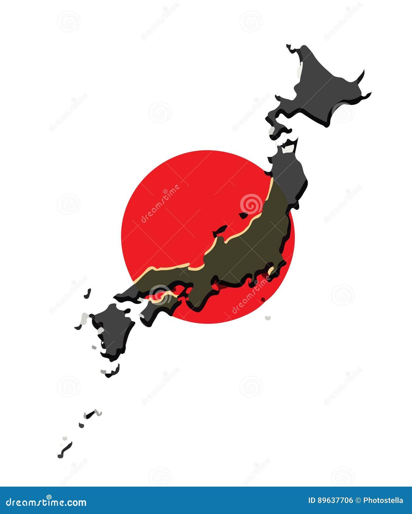 Vector Del Mapa De Japón Con La Bandera Japonesa Ilustración del ...