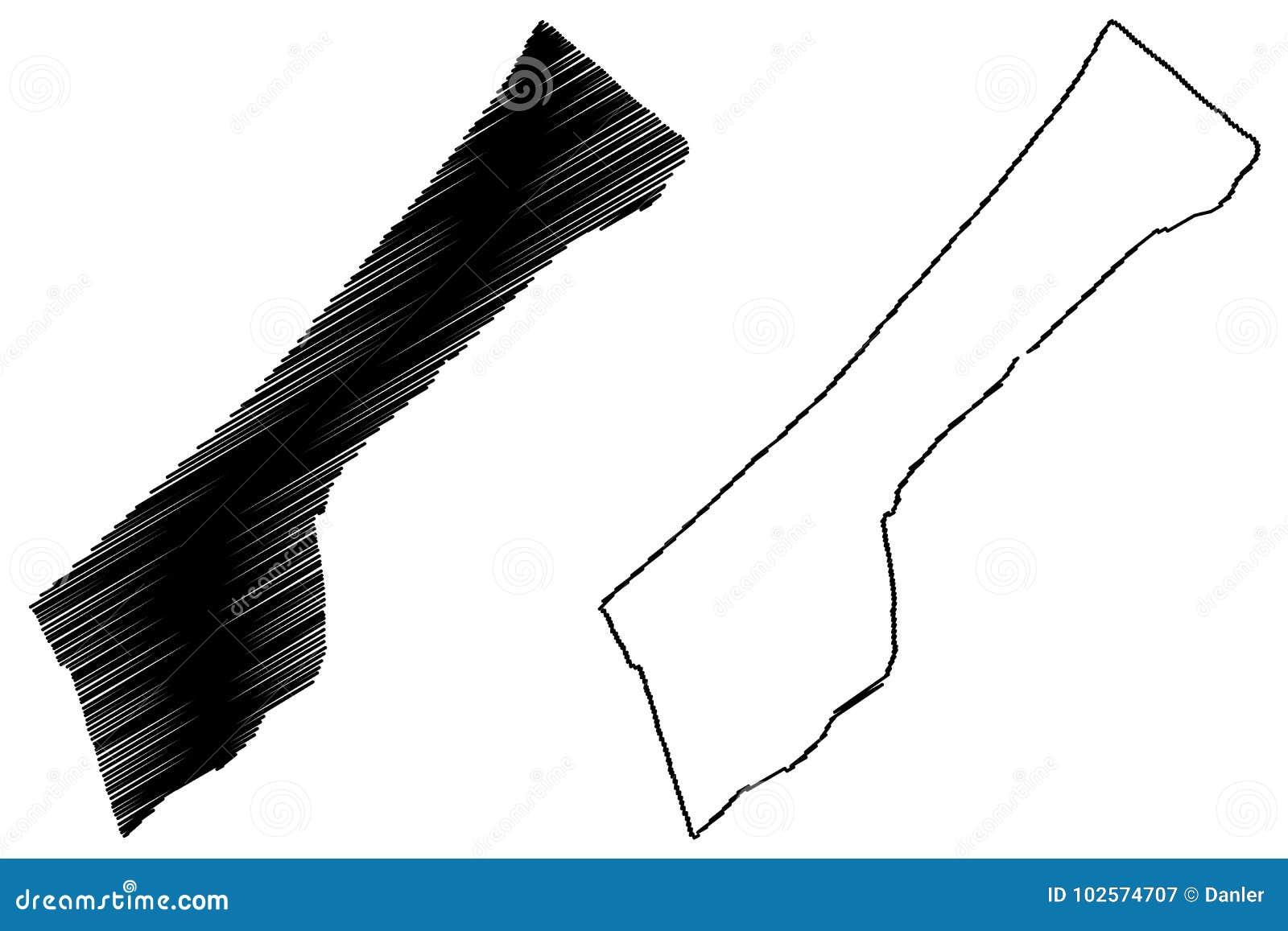 Vector del mapa de la Franja de Gaza