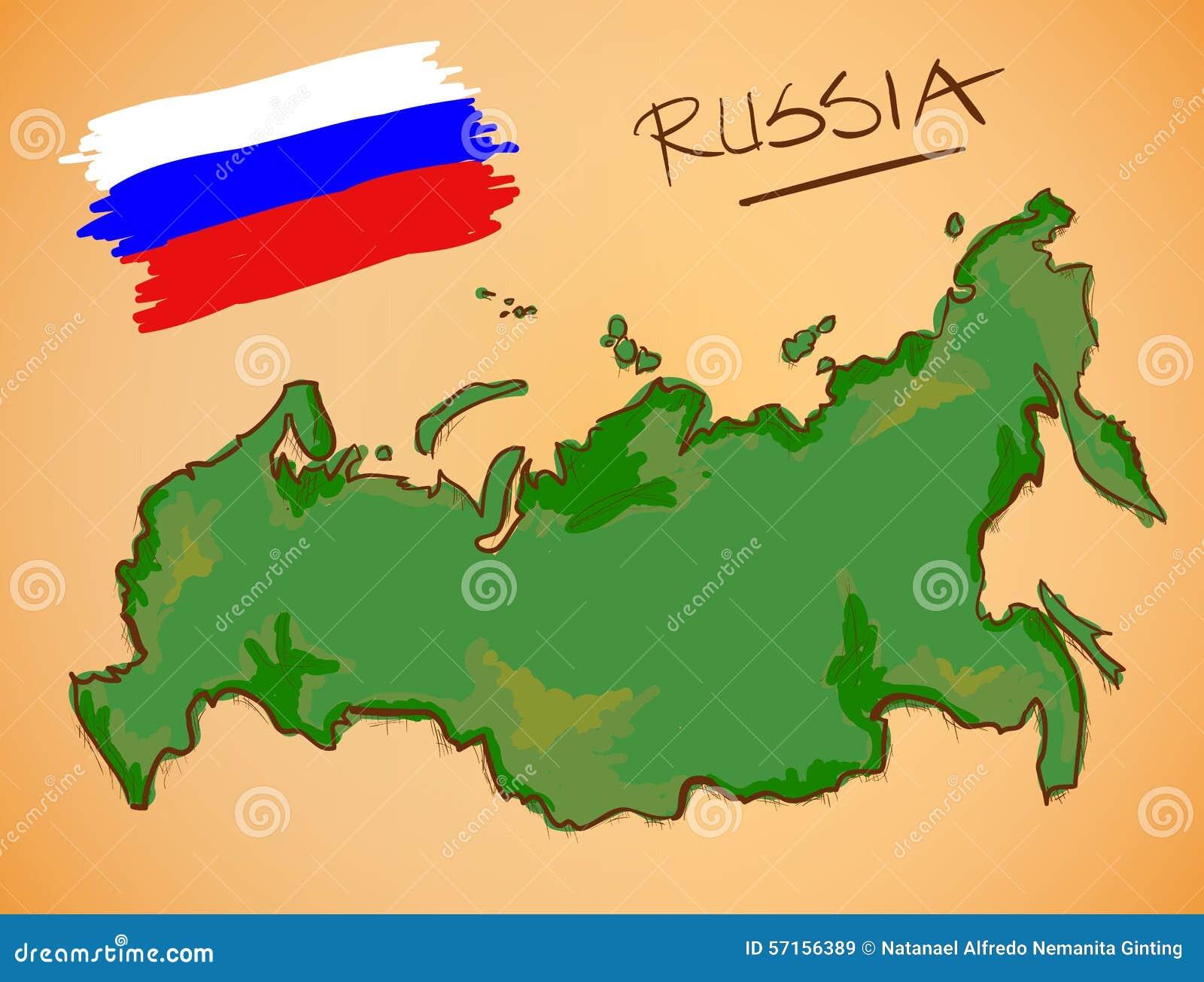 Circuito W Mapa : Vector del mapa de rusia y de la bandera nacional ilustración del