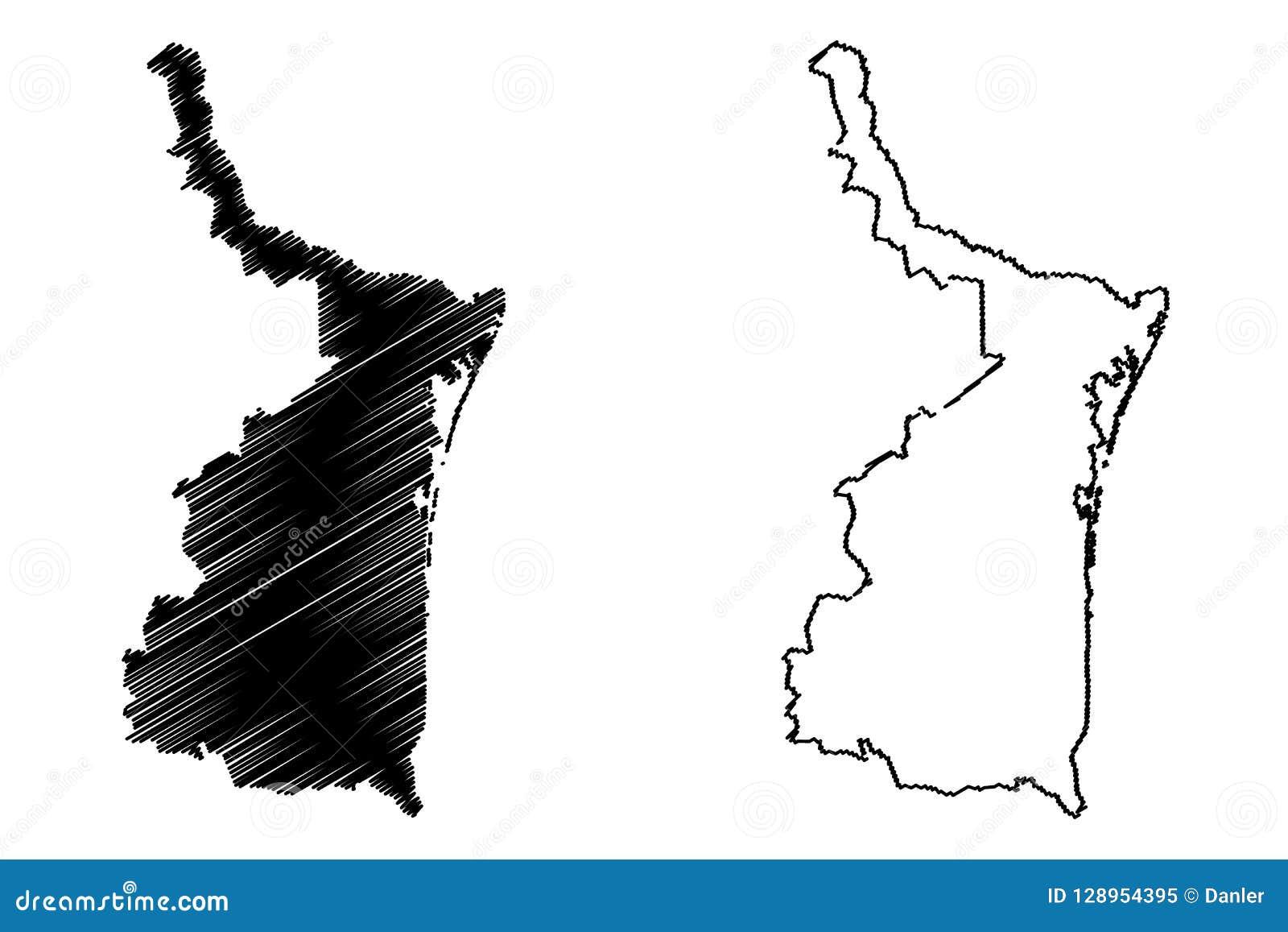 Vector Del Mapa De Tamaulipas Ilustración Del Vector Ilustración