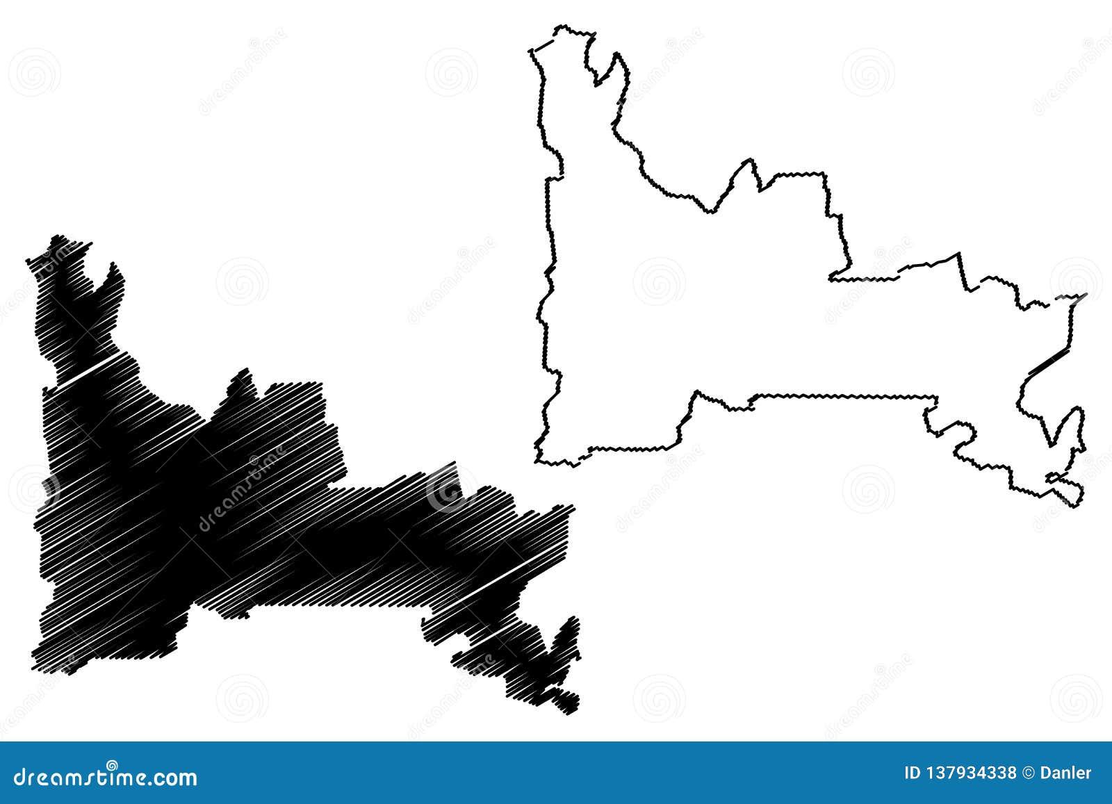Vector del mapa del estado de Ogun