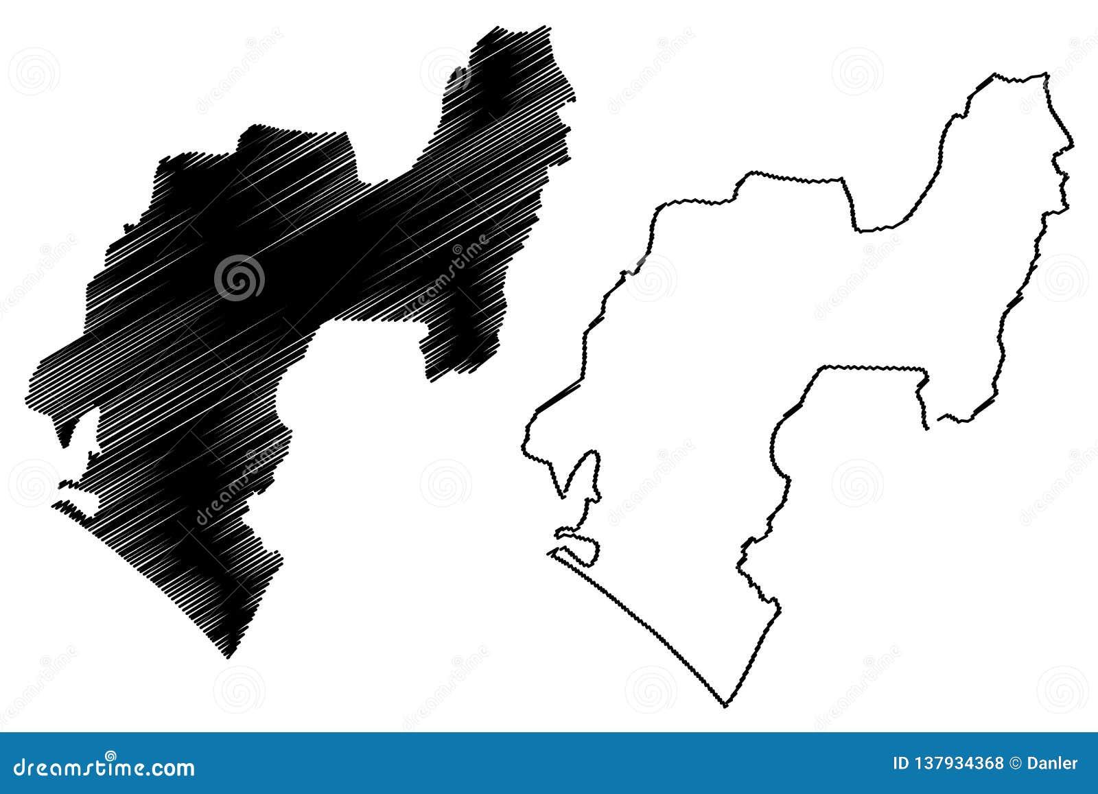 Vector del mapa del estado de Ondo
