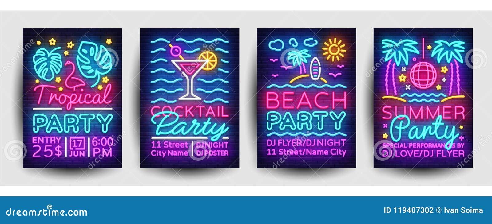 Vector del neón de la colección de los carteles del partido del verano Plantilla del diseño del partido del verano, folleto de ne