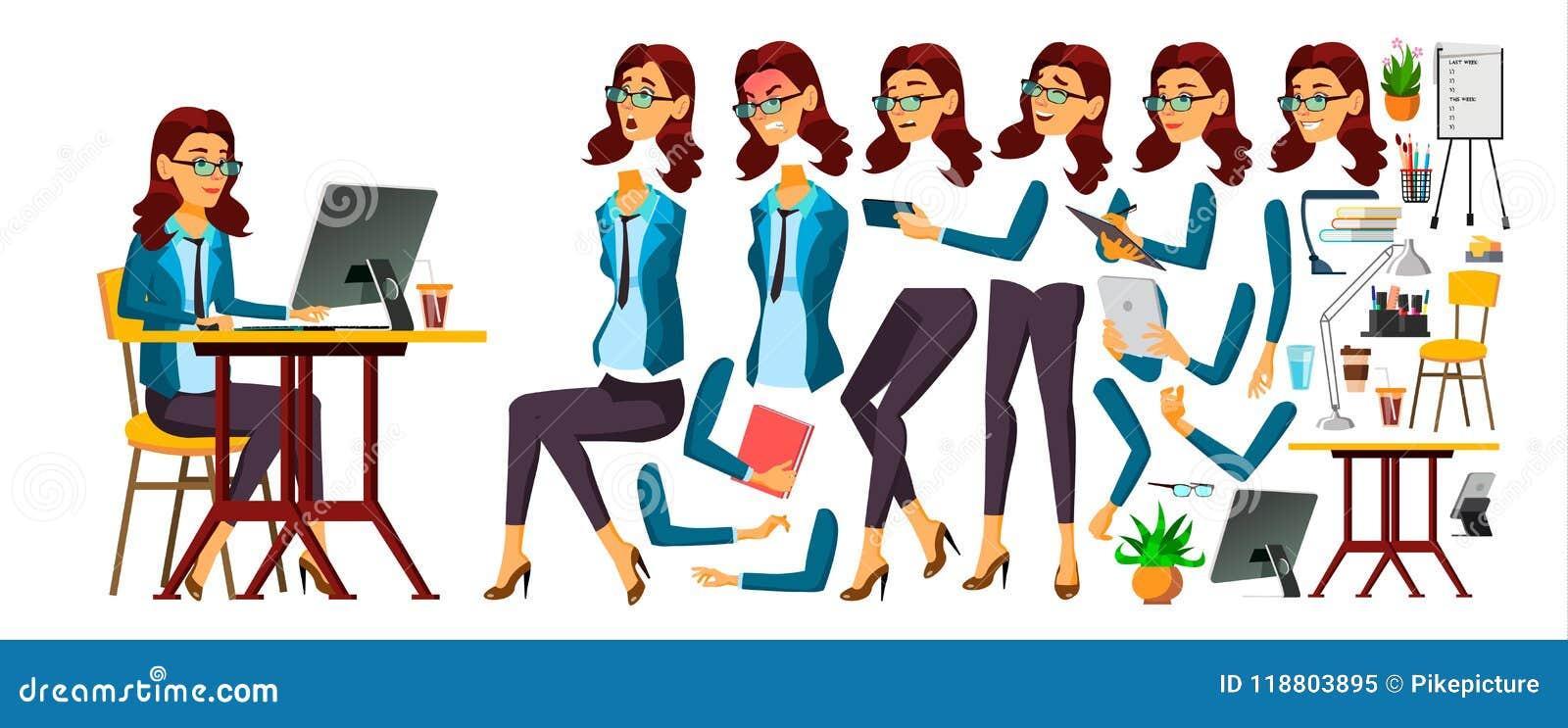 Vector del oficinista Mujer Emociones de la cara, diversos gestos Secretaria, contable Sistema de la creación de la animación Ais