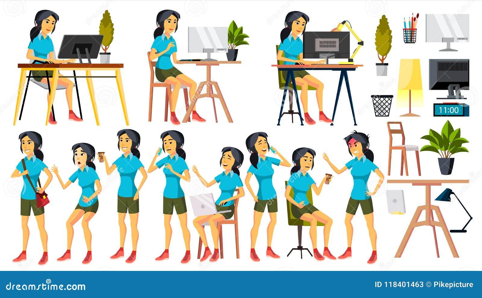 7fdc2c2fd Vector Del Oficinista Mujer Vendedor Feliz, Criado, Empleado Coreano ...