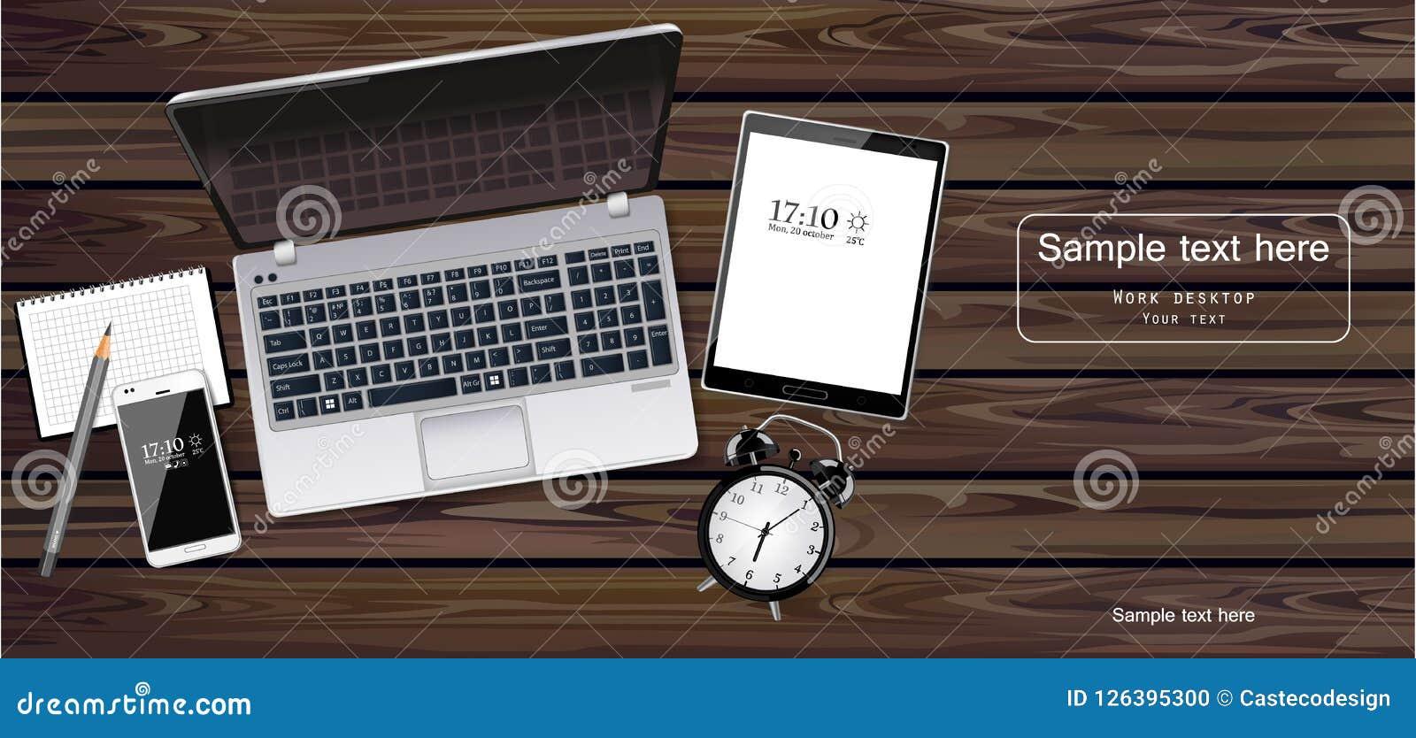 Vector del ordenador portátil, de la tableta y del teléfono realista Artilugios de la nueva tecnología Ejemplos detallados 3d