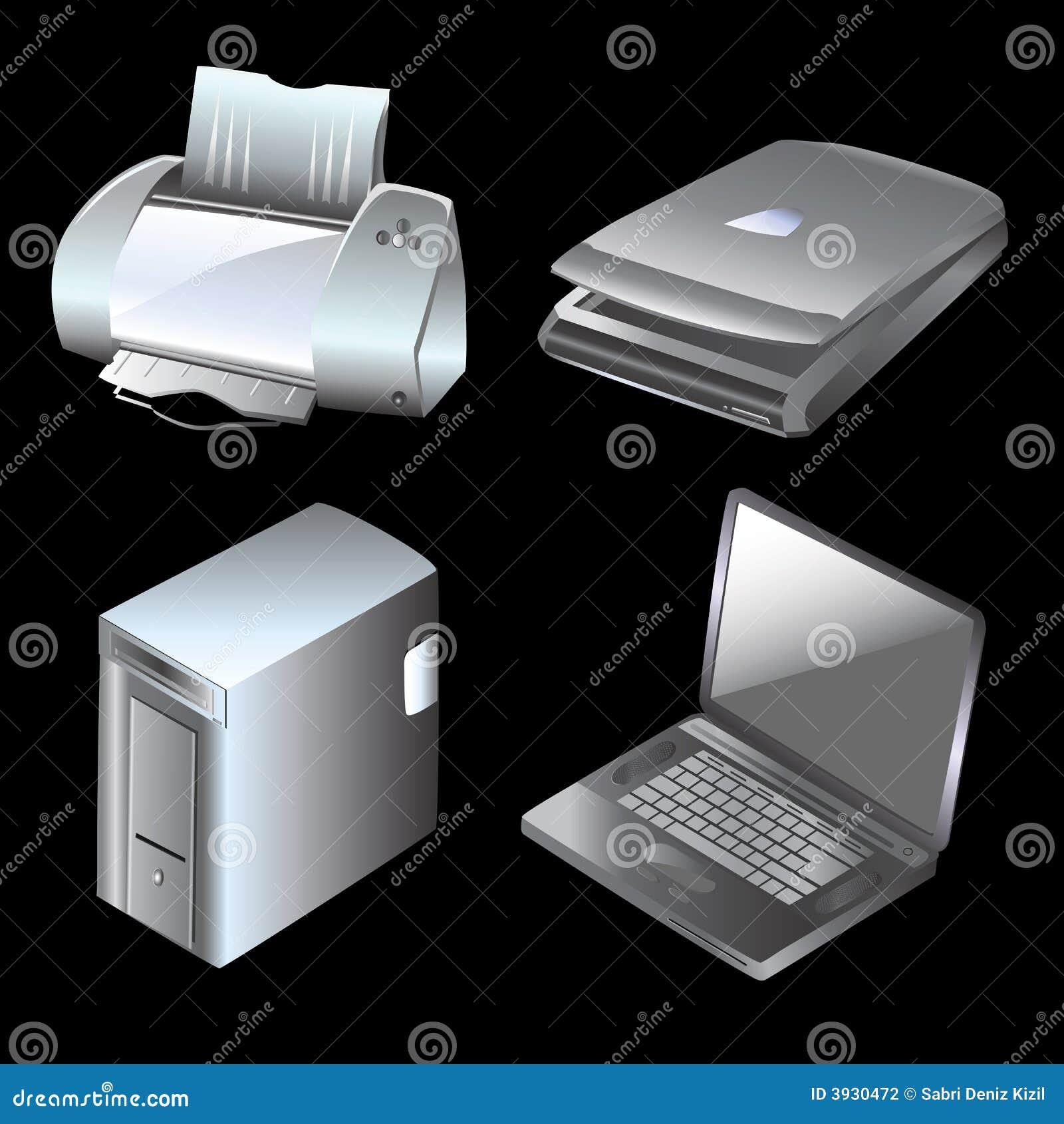 Vector del ordenador y de los equipos